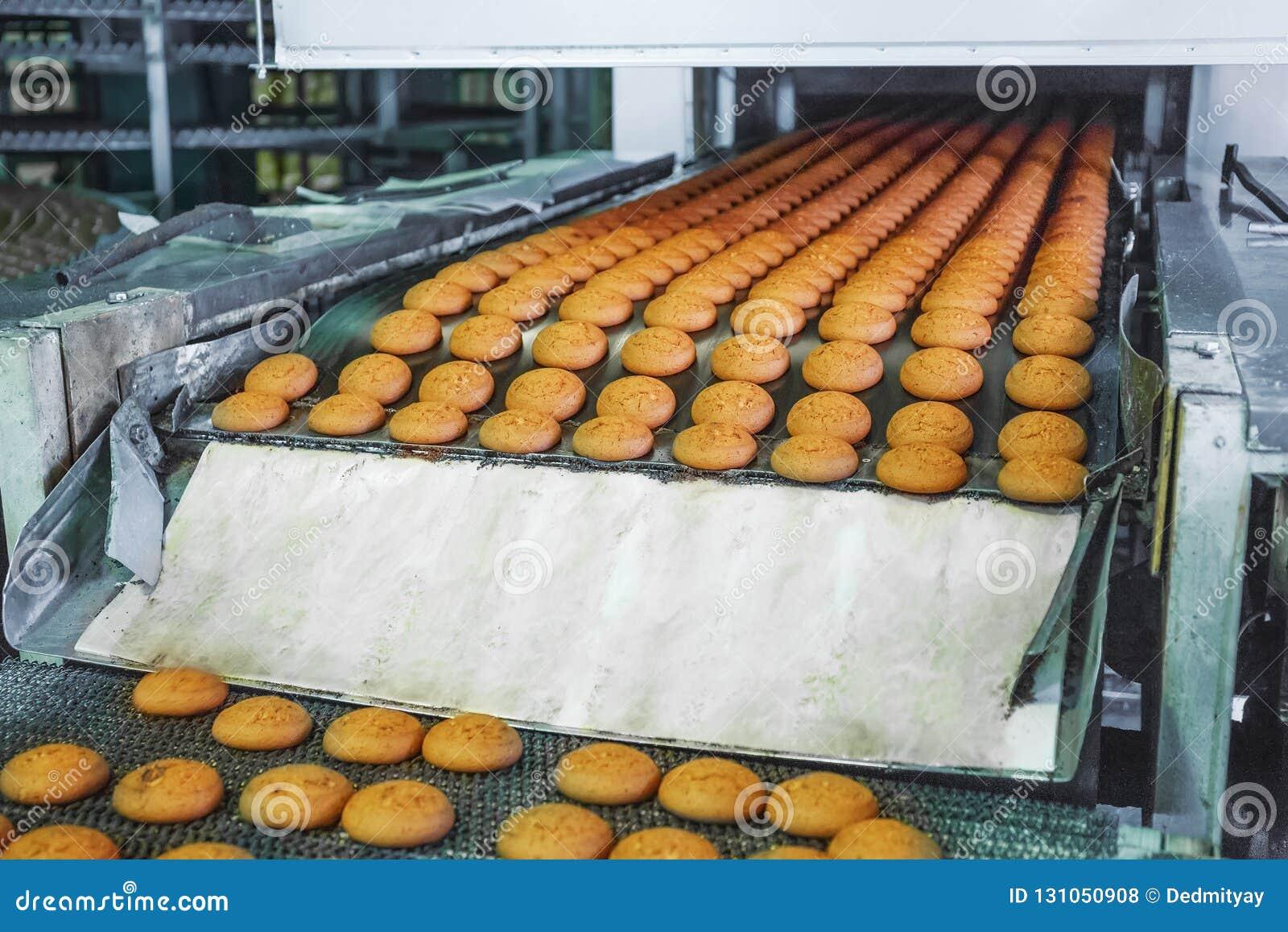 Usine de nourriture, bande de conveyeur industrielle ou ligne avec le processus de la préparation des biscuits, de la boulangerie
