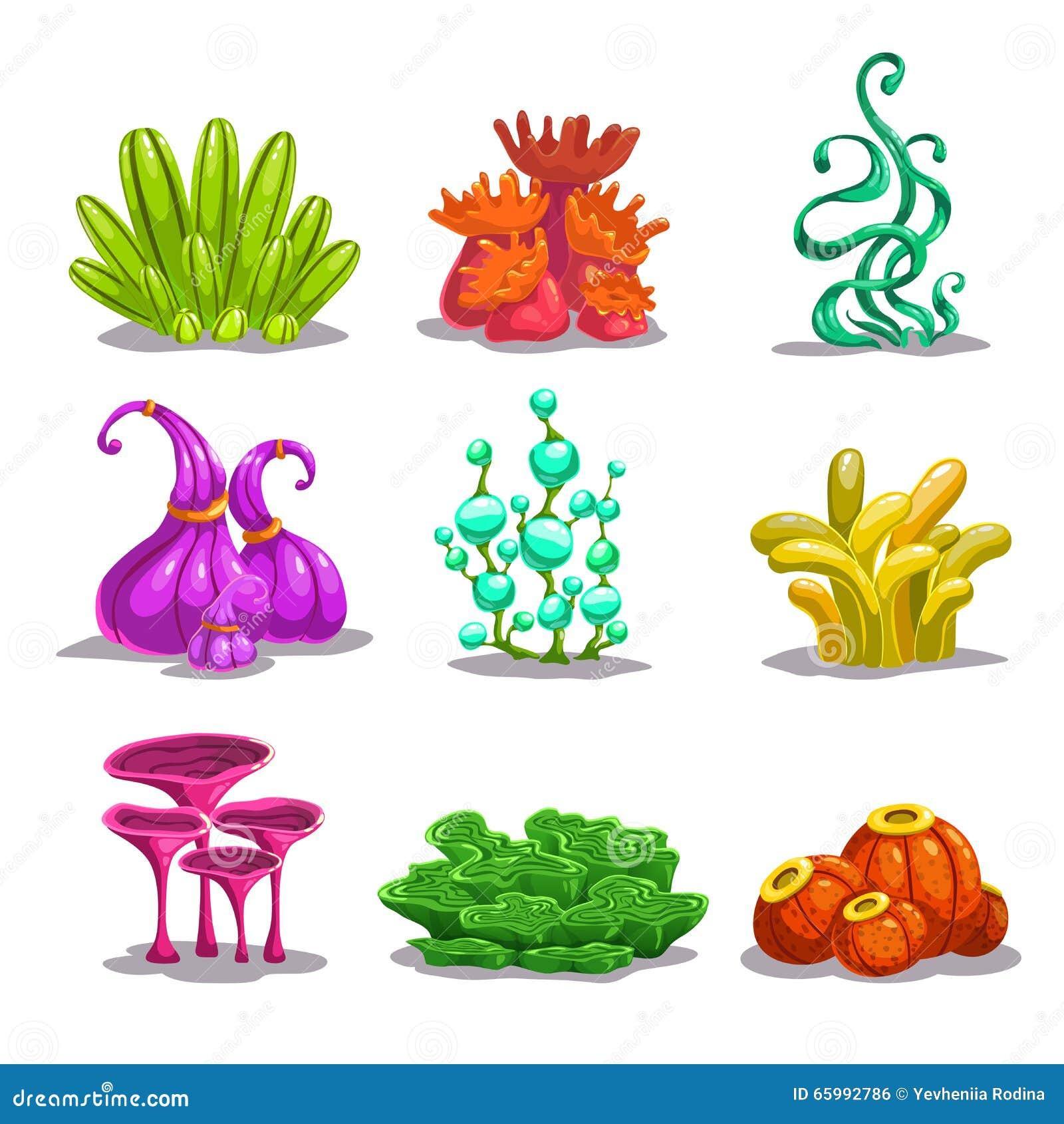 Usines colorées drôles d imagination de vecteur