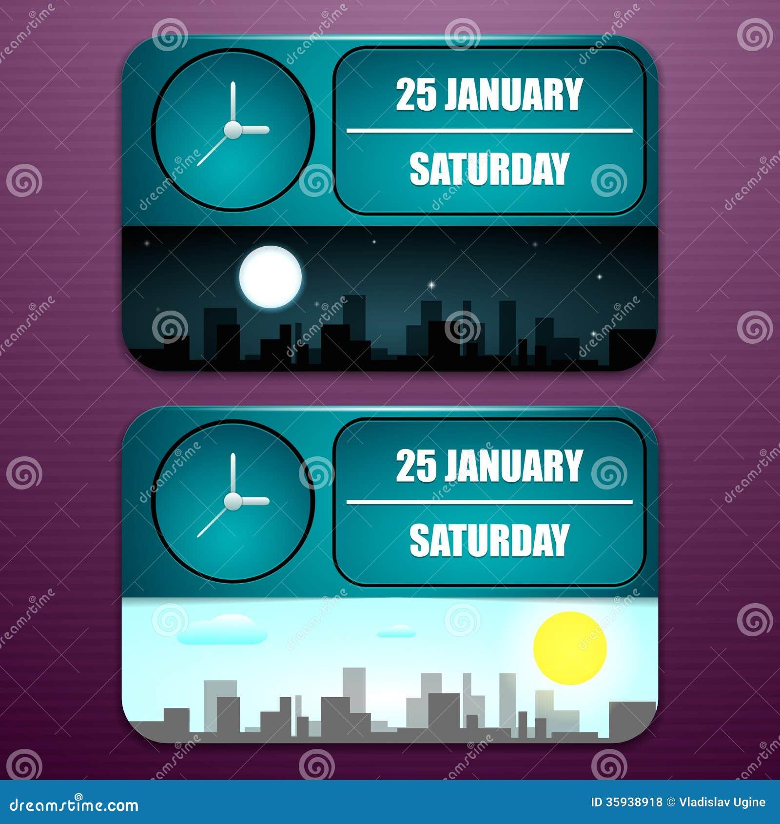 usinez l 39 horloge avec la date le jour de la semaine le mois et l 39 heure illustration stock. Black Bedroom Furniture Sets. Home Design Ideas
