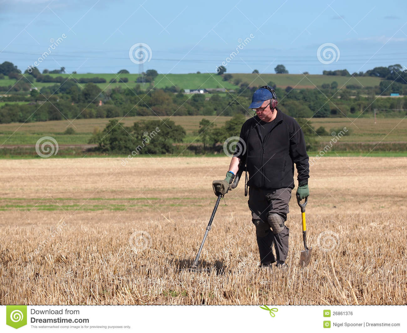 Jew Detector: Using A Metal Detector In Field Stock Photo