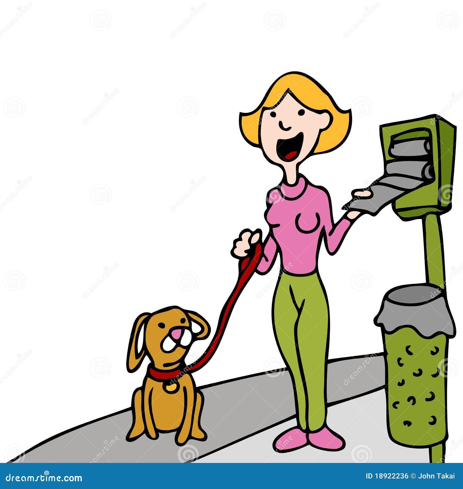 Using Pet Waste Bag Dispenser While Walking Dog Stock ...