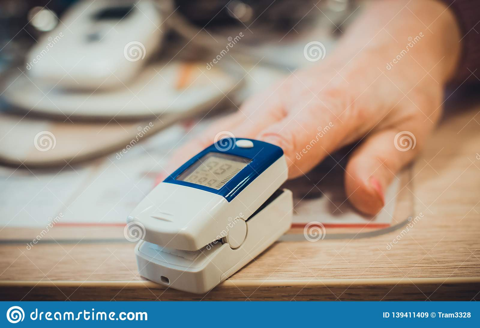 Using Pulse Oximeter On The Hand For Measuring Pulse Closeup