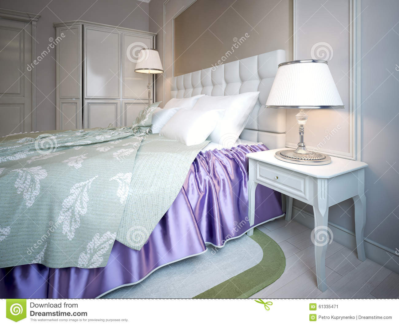 Using Of Purple Color In Bedroom Stock Illustration ...
