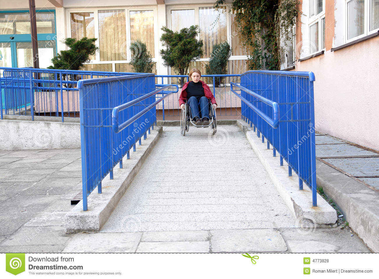 Handicapped ramp by brick building stock photo for Building a wheelchair accessible home