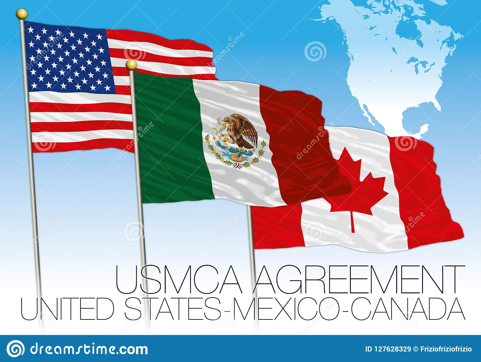 USMCA Agreement 2018 Flags, United States, Mexico, Canada With Map ...