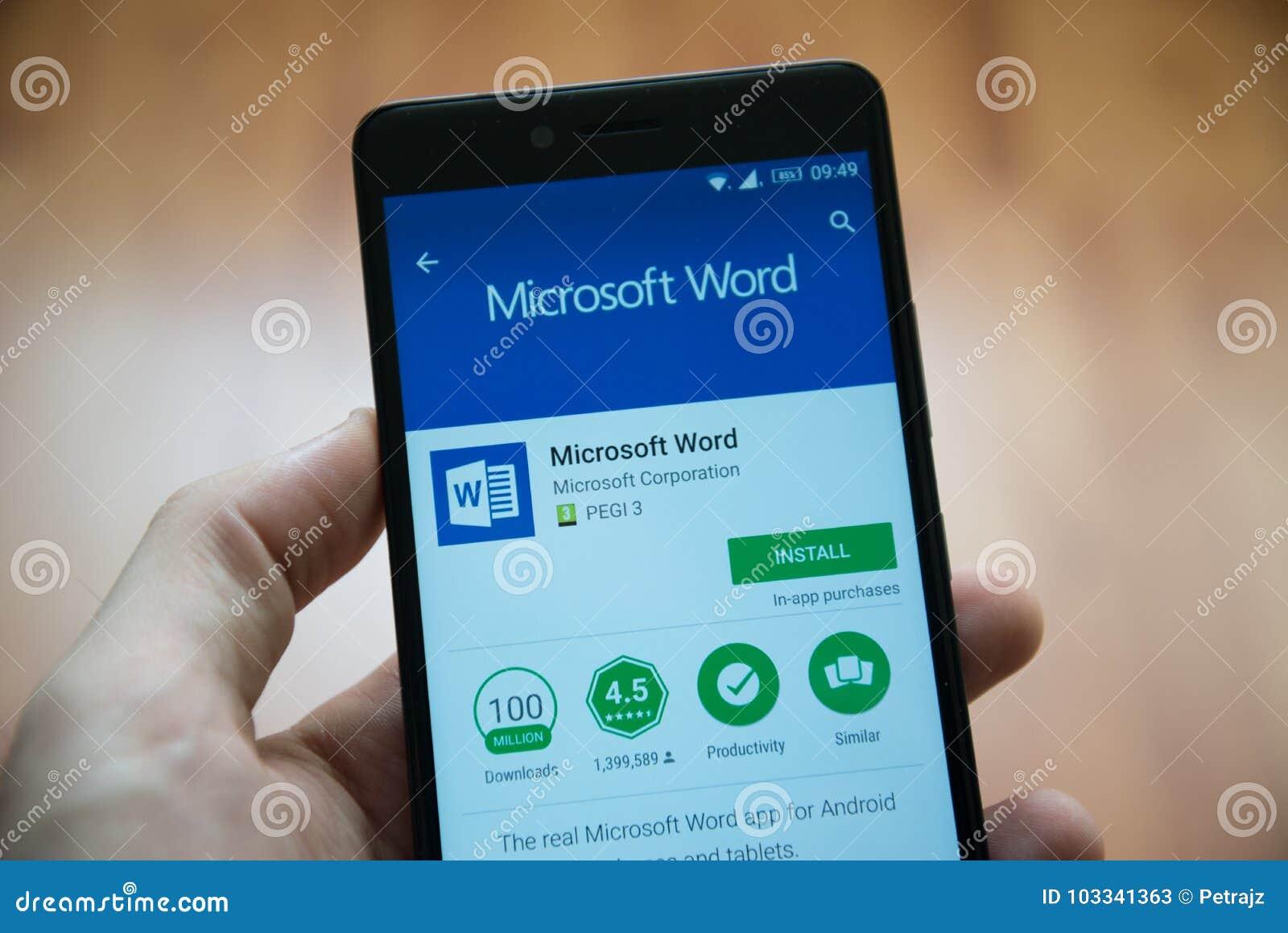Uso de la palabra del Microsoft Office en tienda del juego de Google