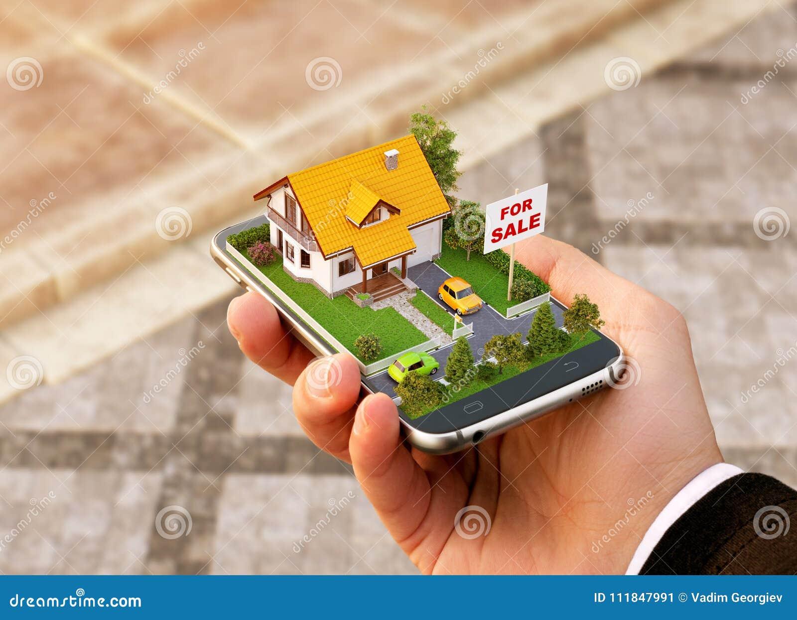 Uso de Smartphone para la búsqueda en línea, propiedades inmobiliarias comprar, vender y reservar