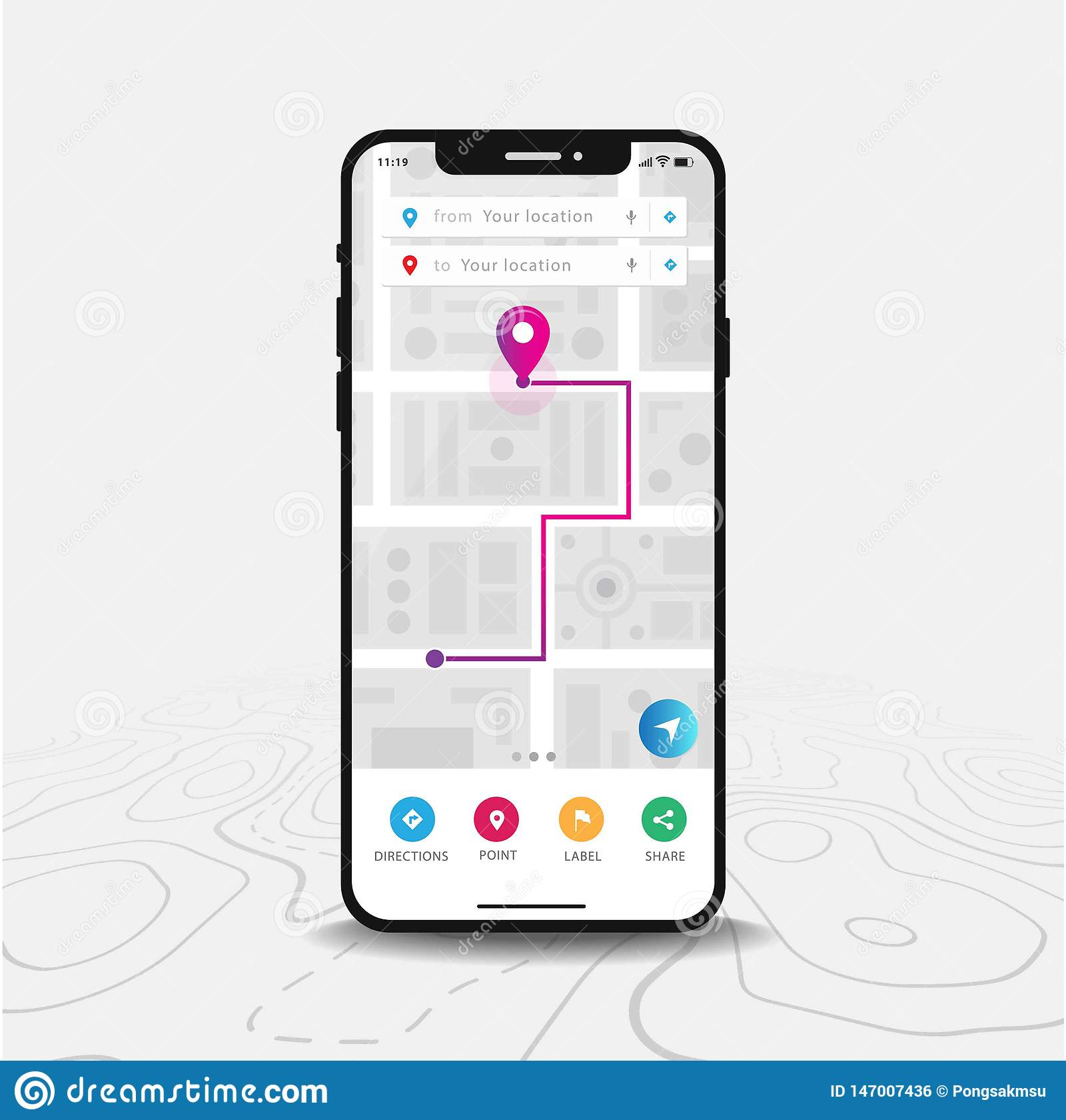 Uso del mapa de la navegación GPS, de Smartphone del mapa y punta púrpura en la pantalla