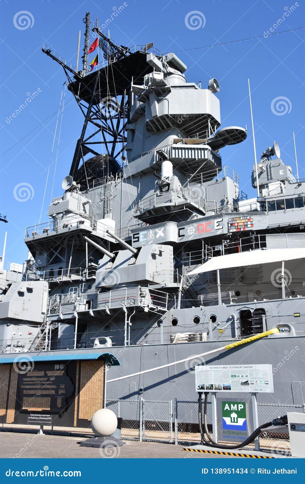 USS Iowa BB-61 In San Pedro, California Editorial Stock