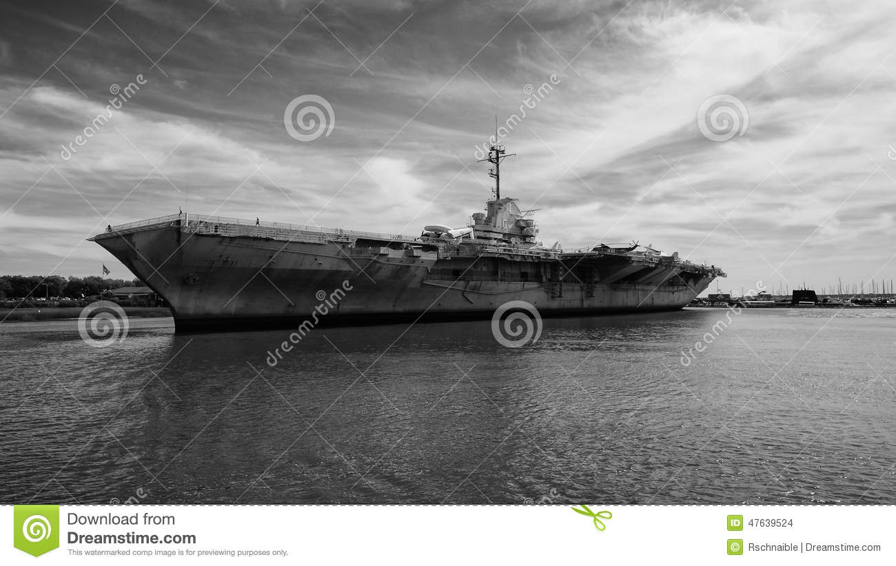 uss yorktown a historical aircraft carrier stock photo