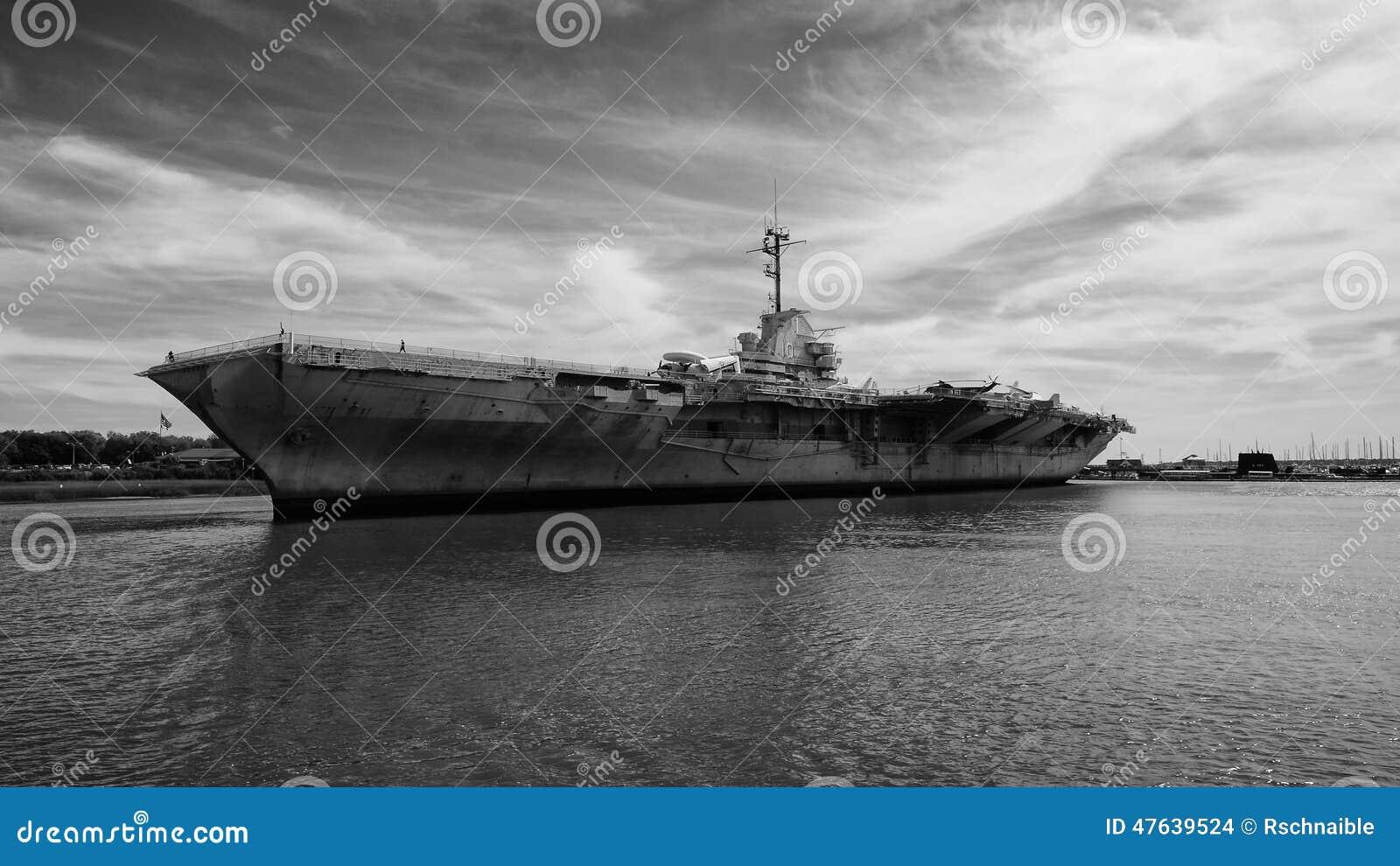 uss yorktown a historical aircraft carrier stock photo