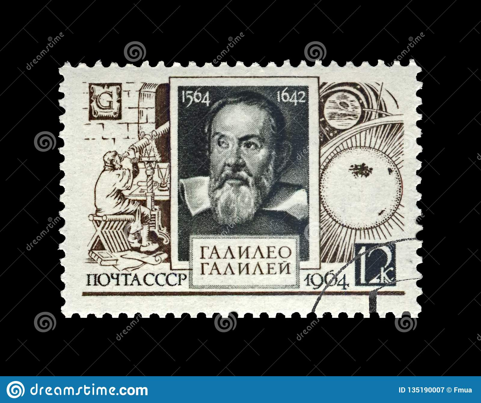 Galileo Galilei , famous italian astronomer, physicist and engineer, USSR, circa 1964,