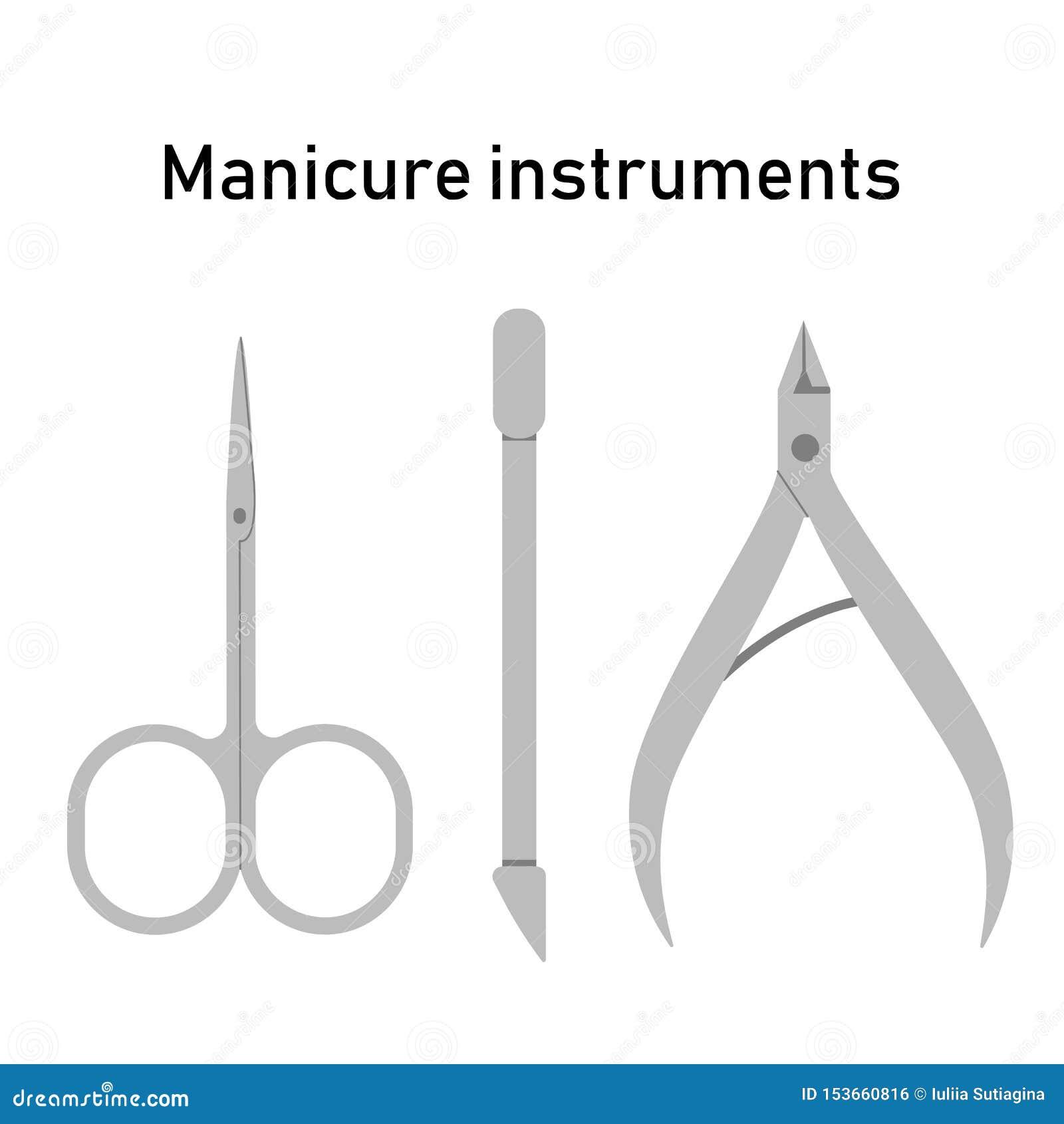 Ustaleni żelaz narzędzia dla manicure u, gwoździa traktowanie Nożyce, przebojowiec i nippers, r?wnie? zwr?ci? corel ilustracji we