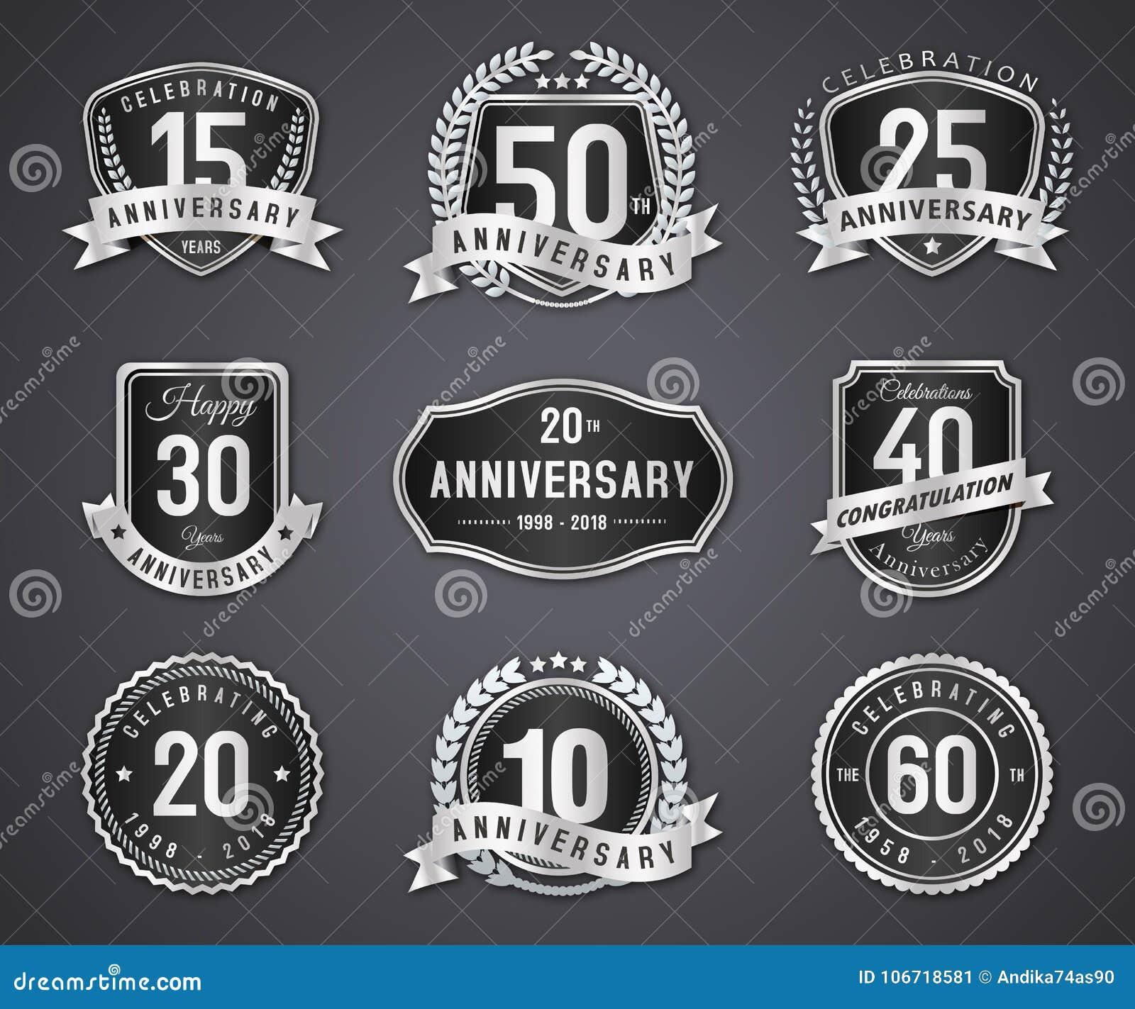 Ustalona srebna odznaka i etykietka rocznica