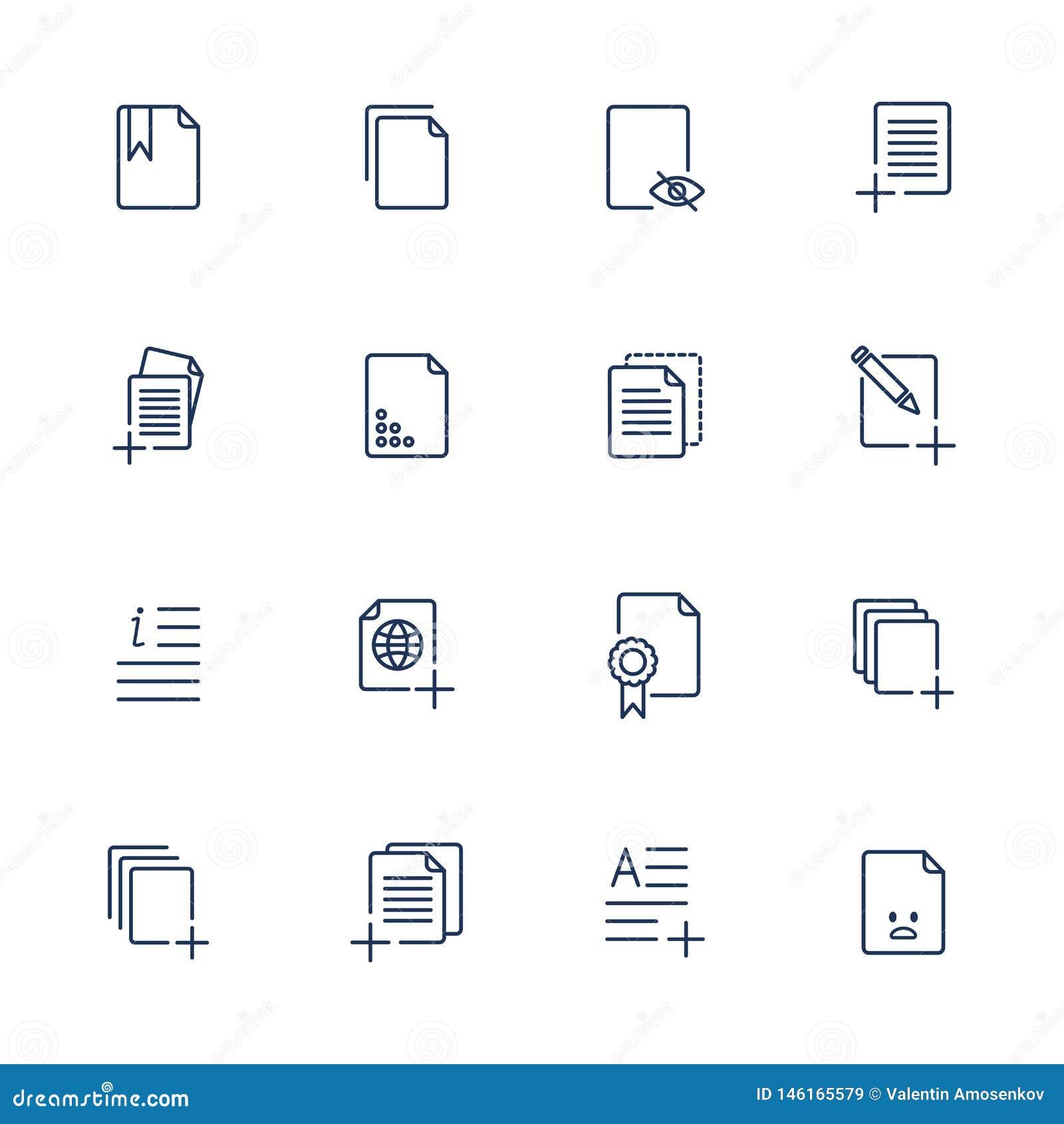 Ustalone dokument ikony, papierowe ikony