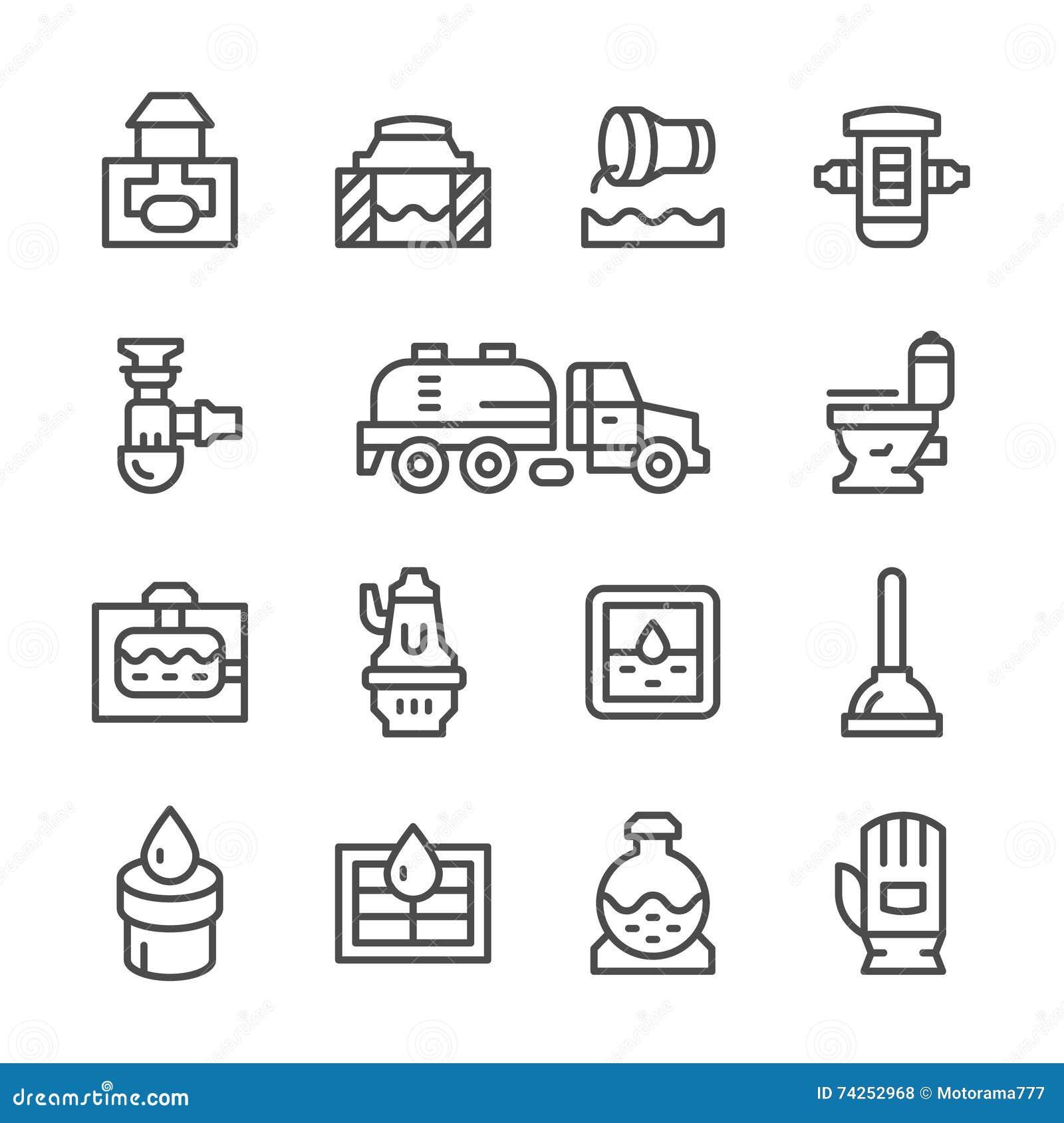 Ustalone kreskowe ikony kanalizacja