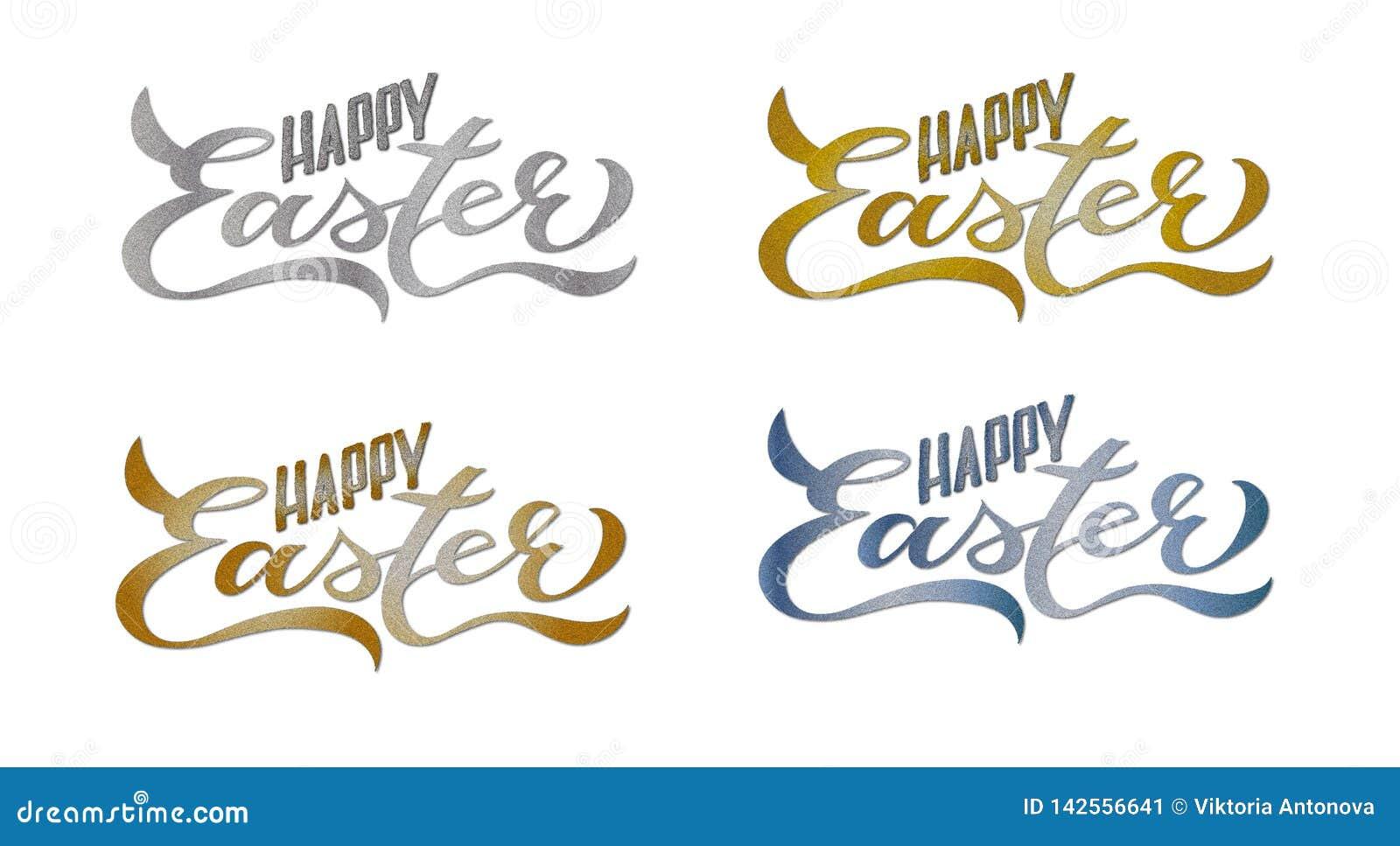 4 Ustalonej Szczęśliwej Wielkanocnej karty: Ręcznie pisany literowanie