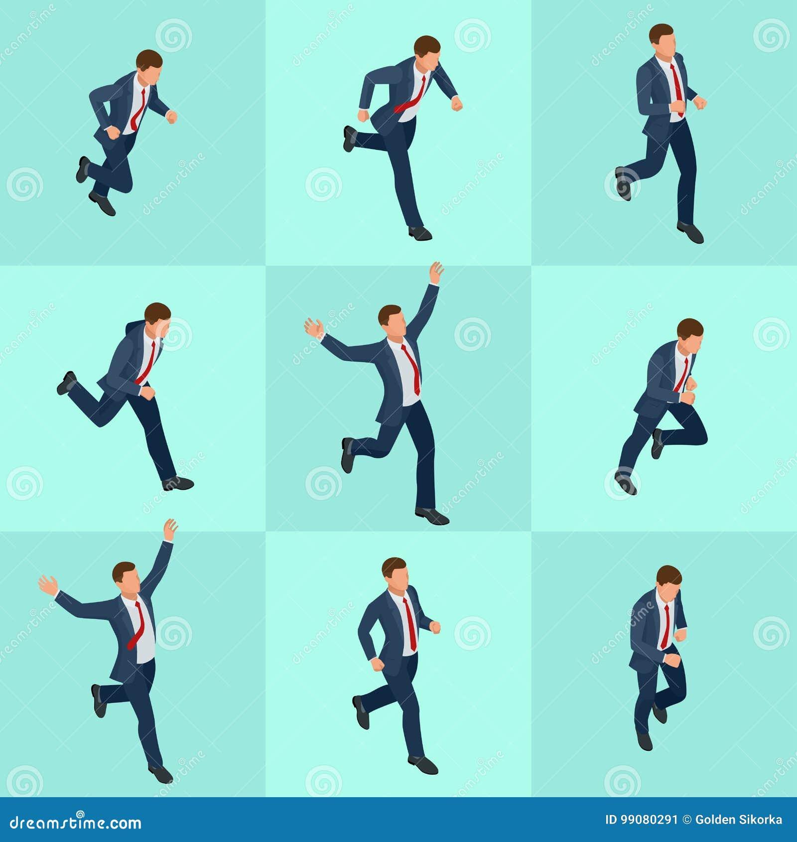 Ustalony isometric działający biznesmen Biznesmena mężczyzna na białym tle Isometric charakter pozy Kreskówek ludzie