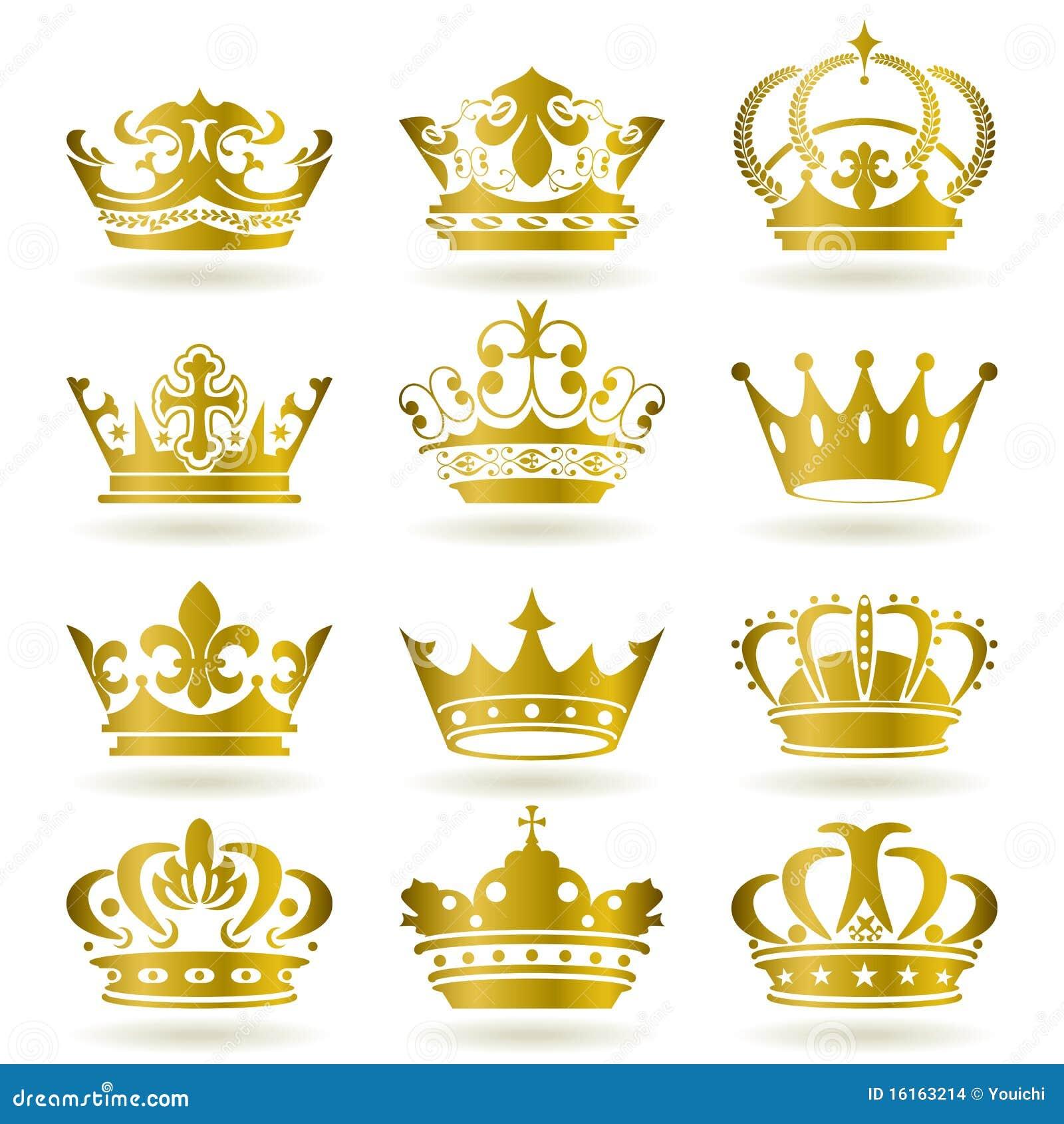 Ustawiać złociste koron ikony