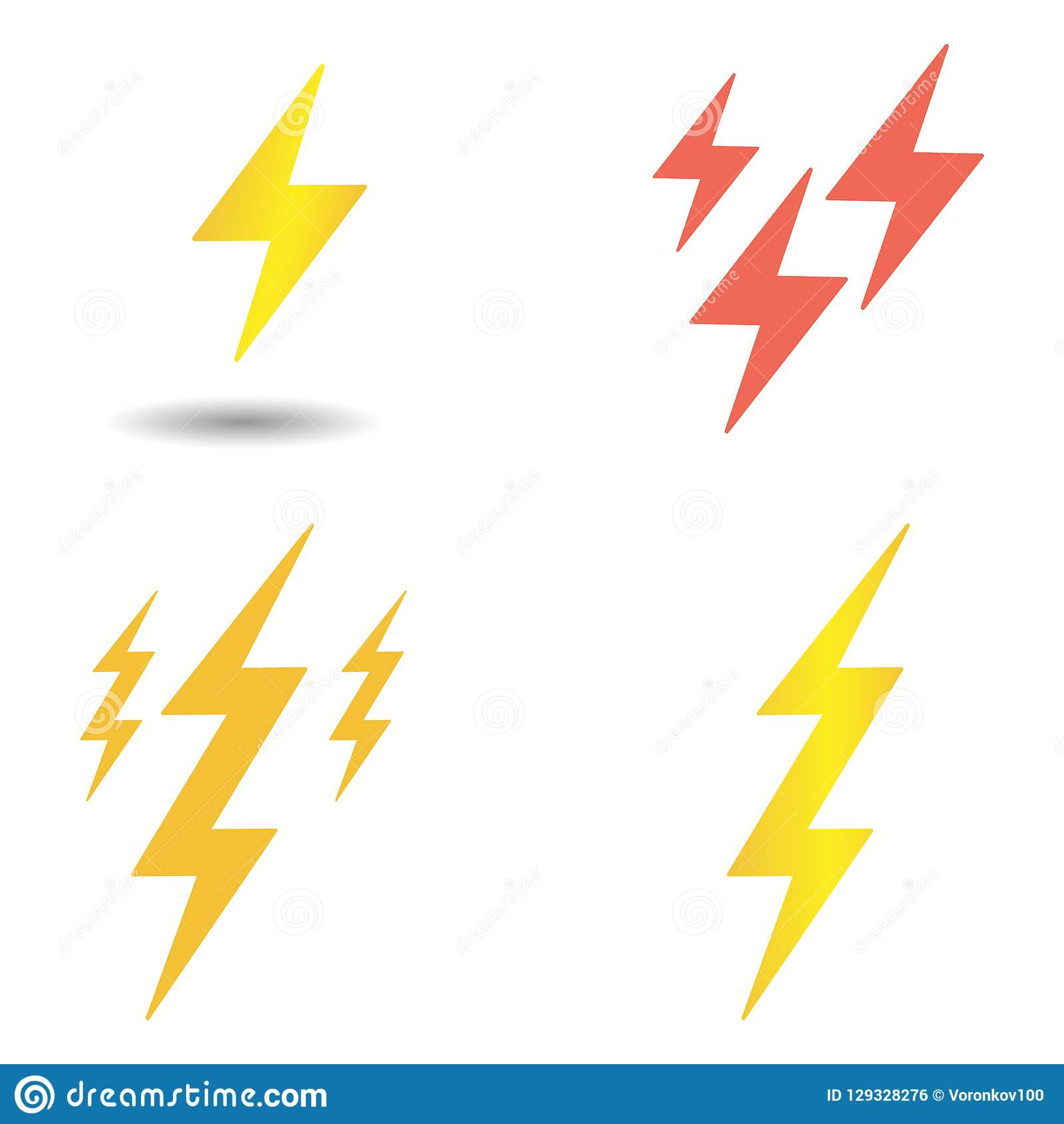 Ustawia błyskawicowego rygla wektor Żółci i czerwoni uderzenia pioruna Elementy odizolowywający na lekkim tle