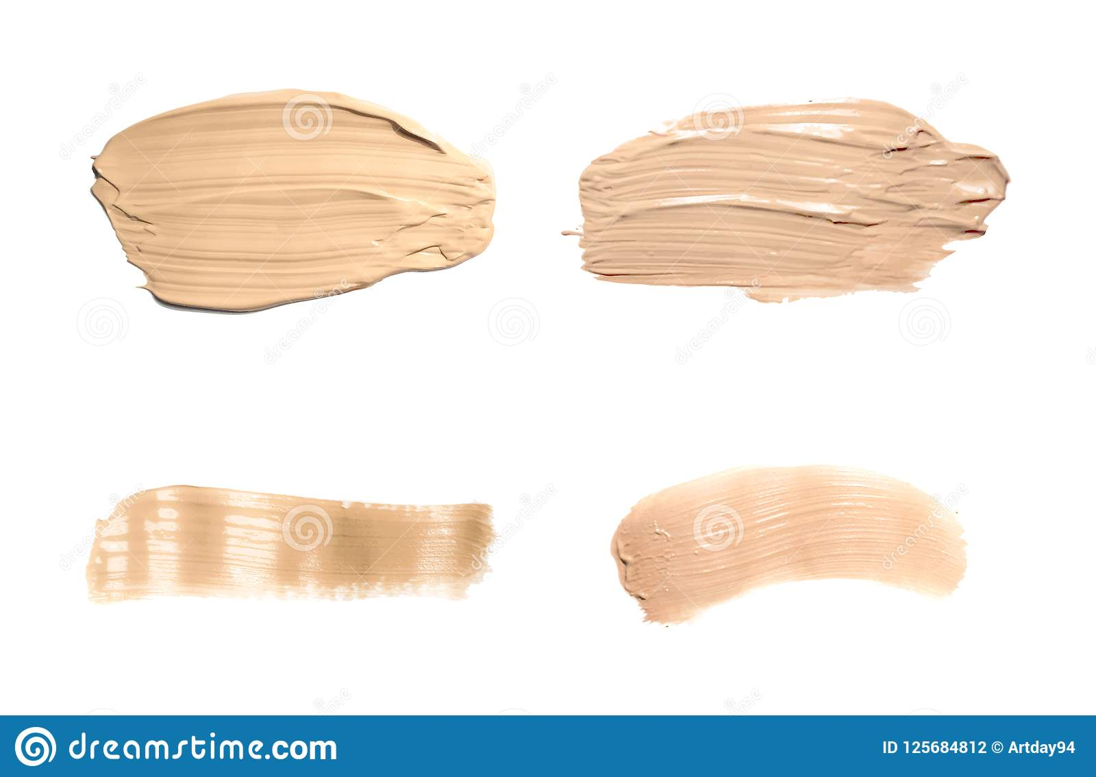 Ustawia concealer rozmazu kosmetyczną śmietankę odizolowywającą na bielu Ciekła fundacyjna brzmienie śmietanka smudged, brązu ude