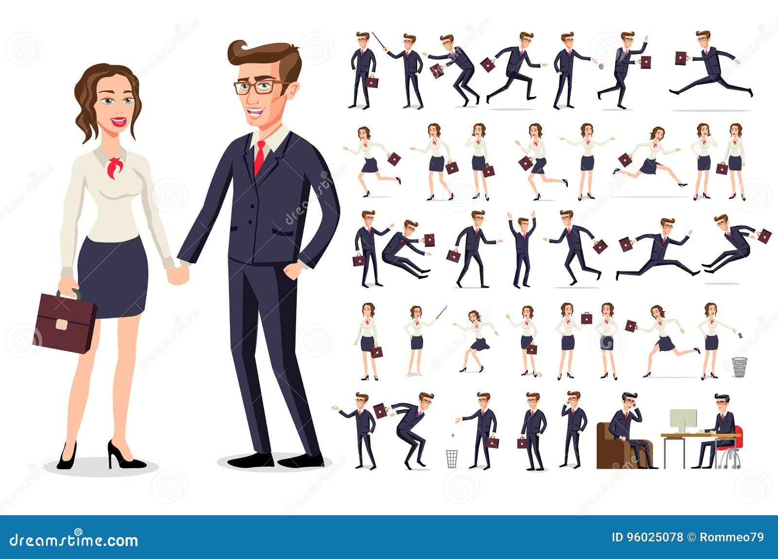 Ustawia dziewczyny i chłopiec ludzi biznesu kobieta w białej bluzce w różnorodnych pozach przy pracą i Męskim mężczyzna w, ciemny