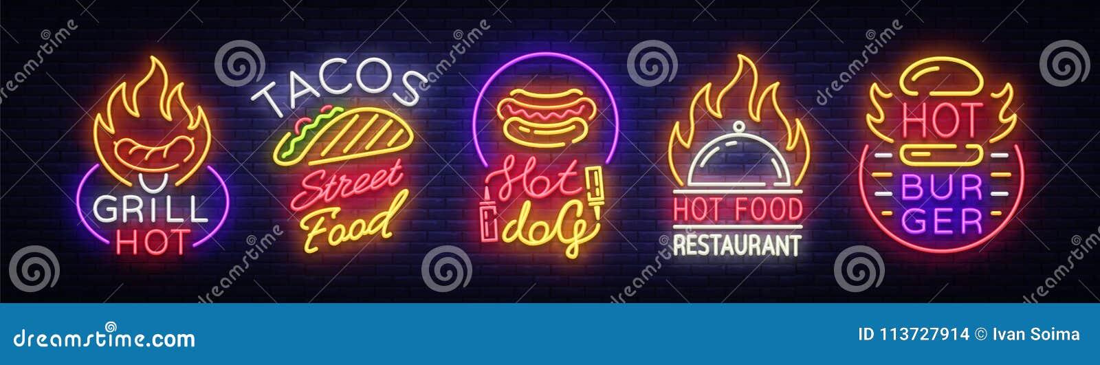 Ustawia fastów food logów Inkasowi neonowi znaki, Uliczny Karmowy Gorący grill, Tacos, hot dog, hamburger kawiarnia, restauracja