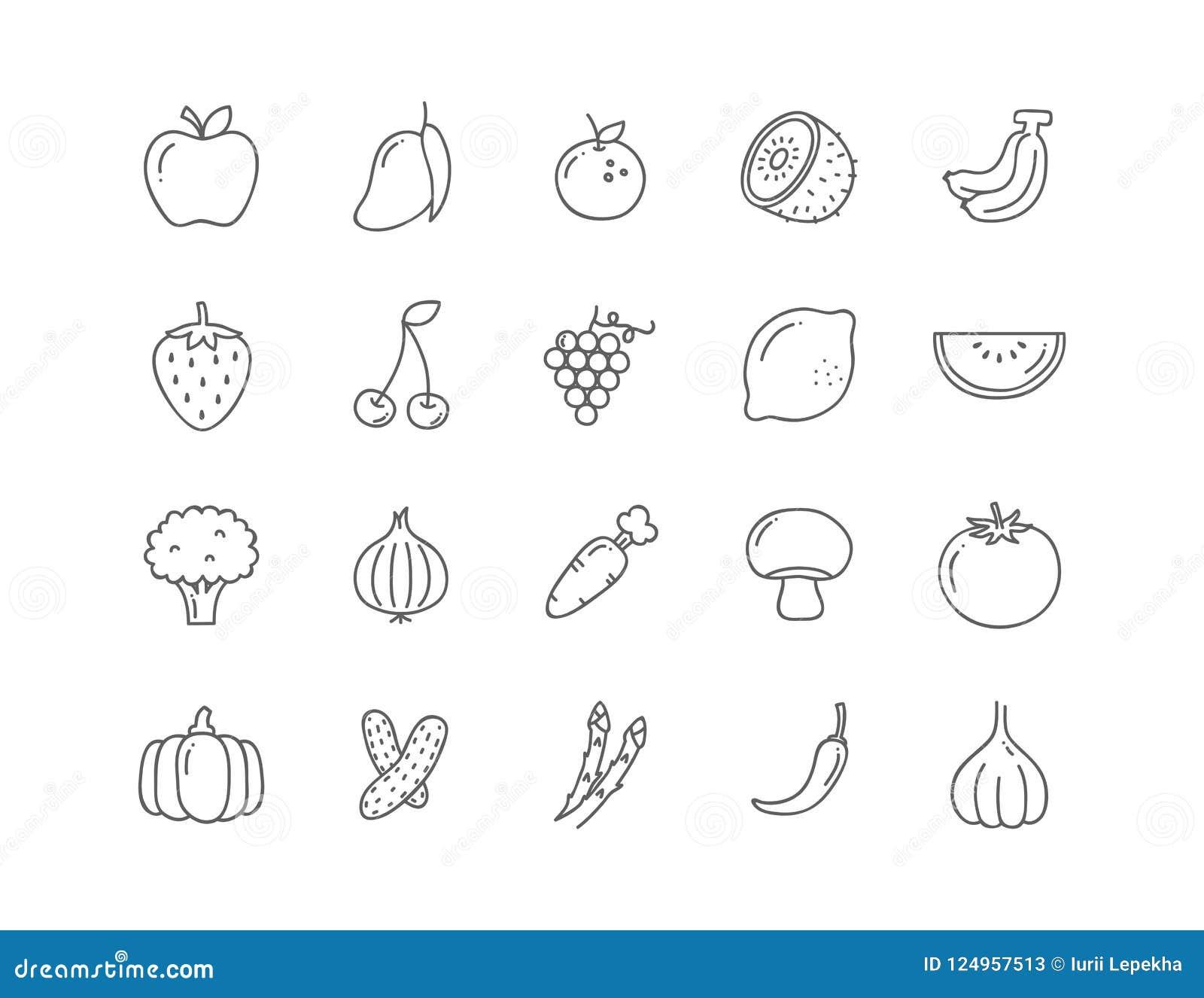 Ustawia 20 ikon weganinu jedzenie, set odznaki, emblematy i znaczki,