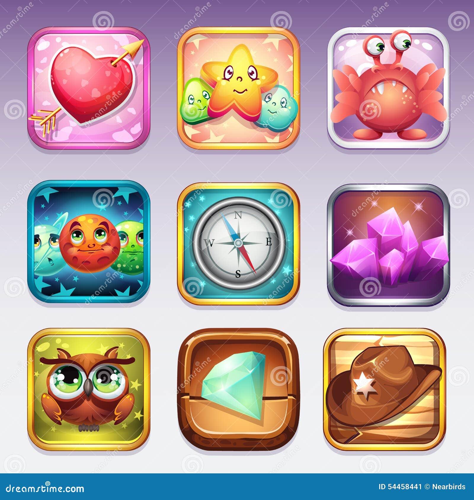 Ustawia ikony dla app sklepu i Google sztuki gry komputerowe na różnorodnych tematach