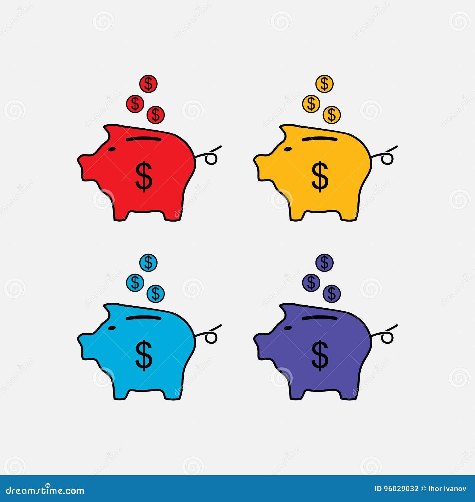 Ustawia ikony prosiątka banka, ratuje pieniądze