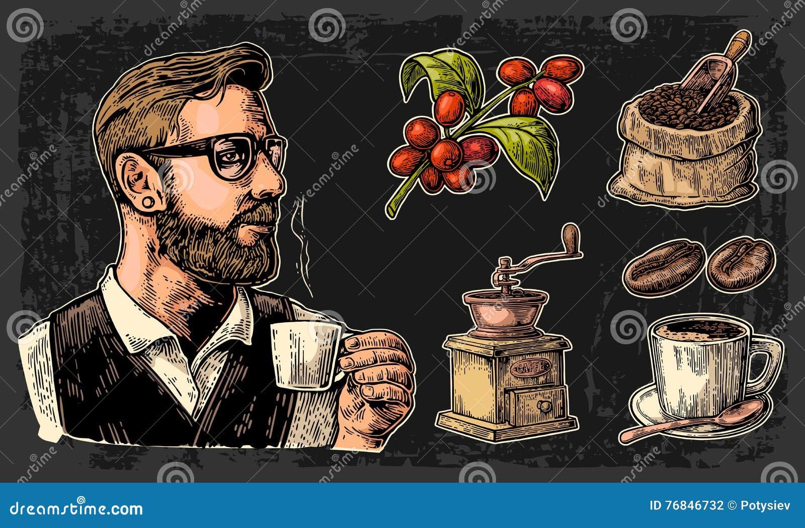 Ustawia kawę Modnisia barista trzyma filiżankę, worek z, filiżankę, gałąź z liściem i jagody, drewnianą miarką i fasolami,