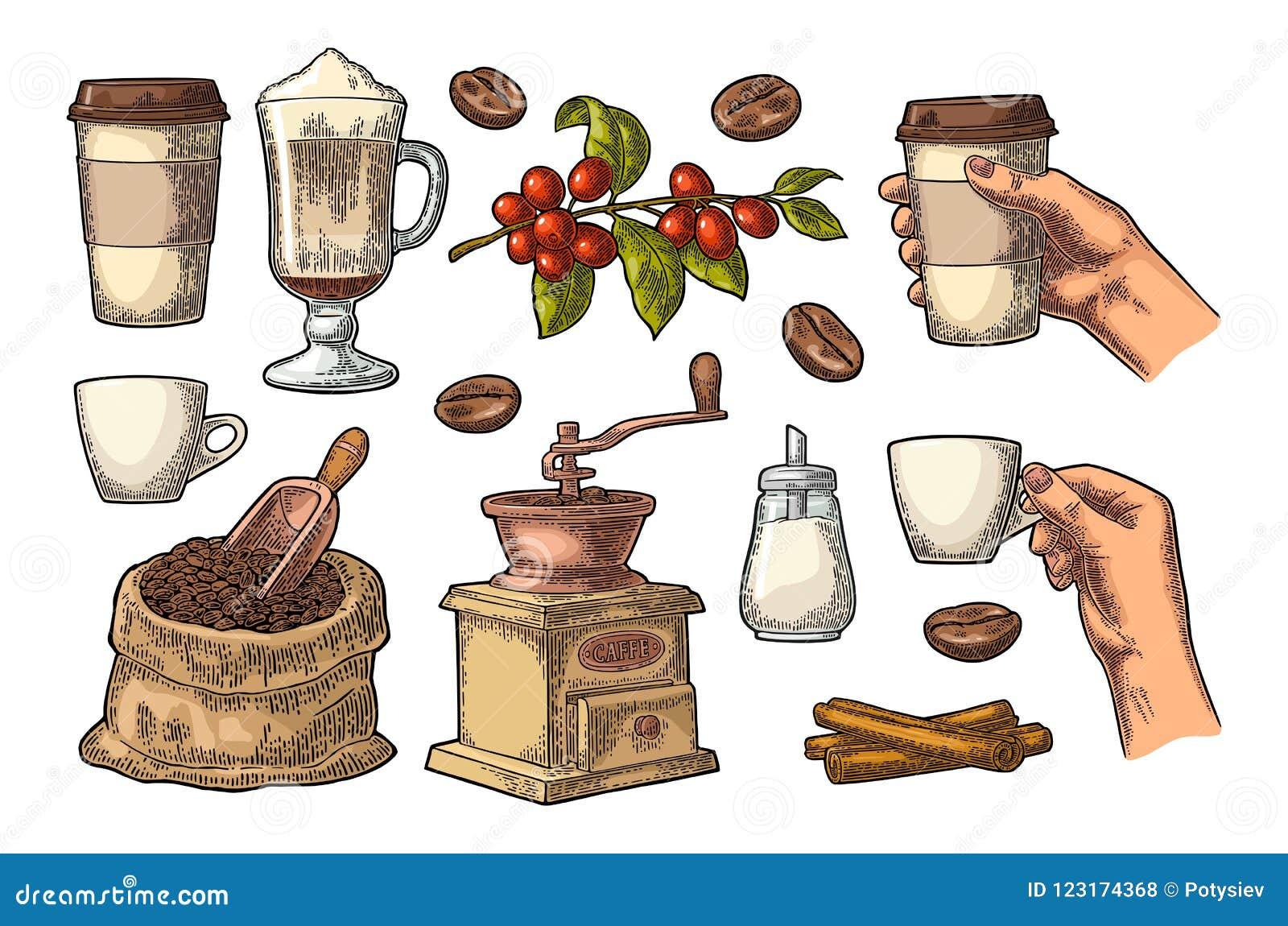 Ustawia kawę Szklany latte, ręka chwyta filiżanka Rocznika rytownictwo