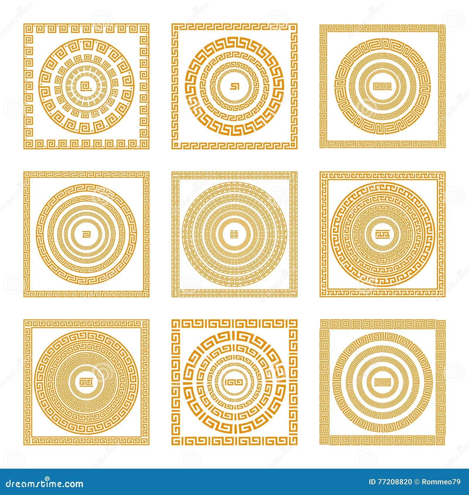 Ustawia kolekcje starzy Greccy ornamenty Pomarańczowy stary styl graniczy na ciemnym tle Etniczni wzory ściągania ilustracj wizer