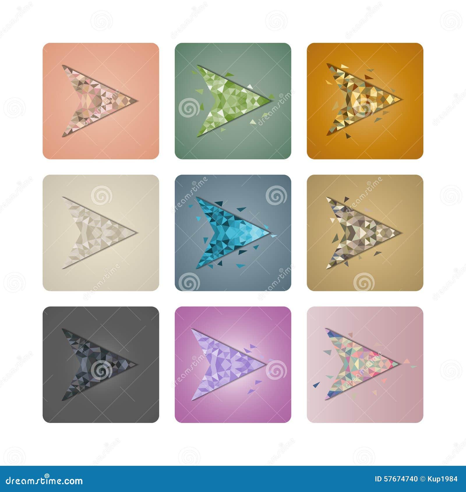 Ustawia kursory trójboki, wektorowa ilustracja