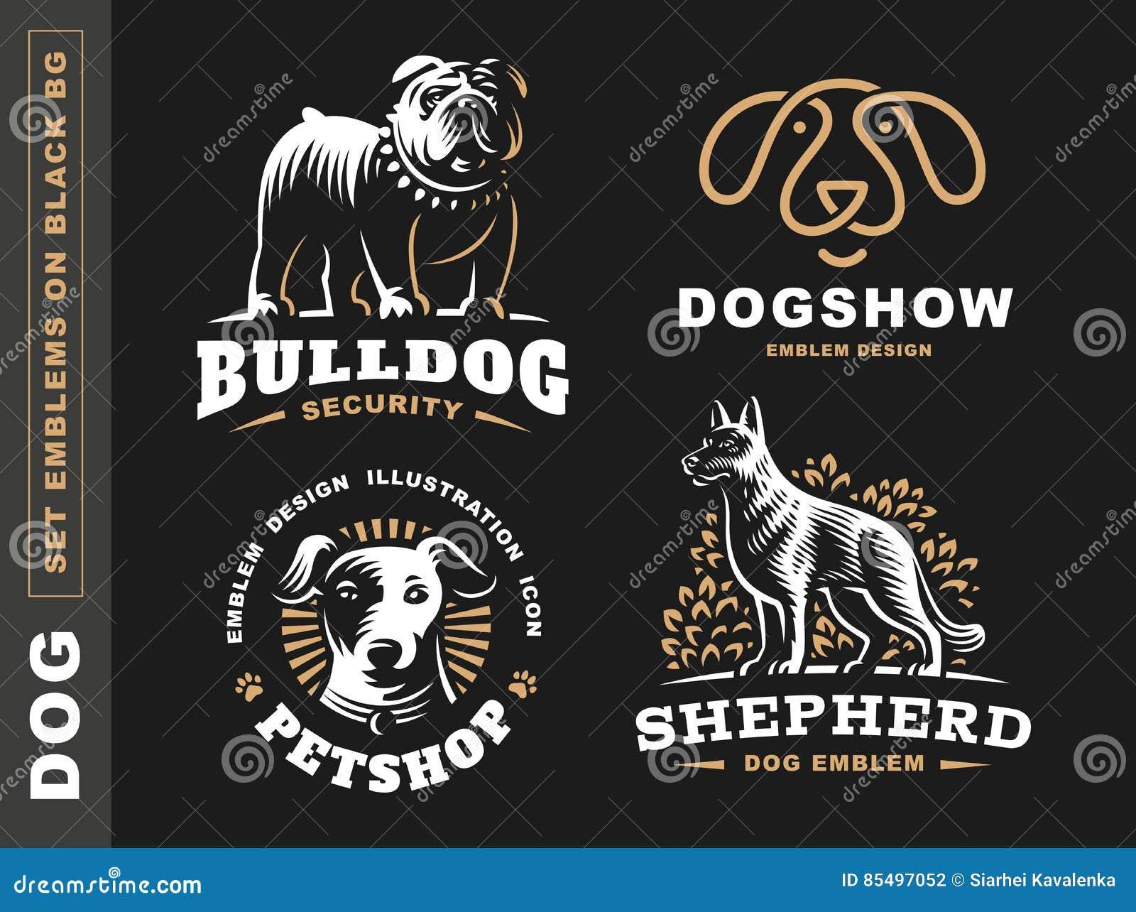 Ustawia logo ilustraci psa, zwierzę domowe emblemat na czarnym tle