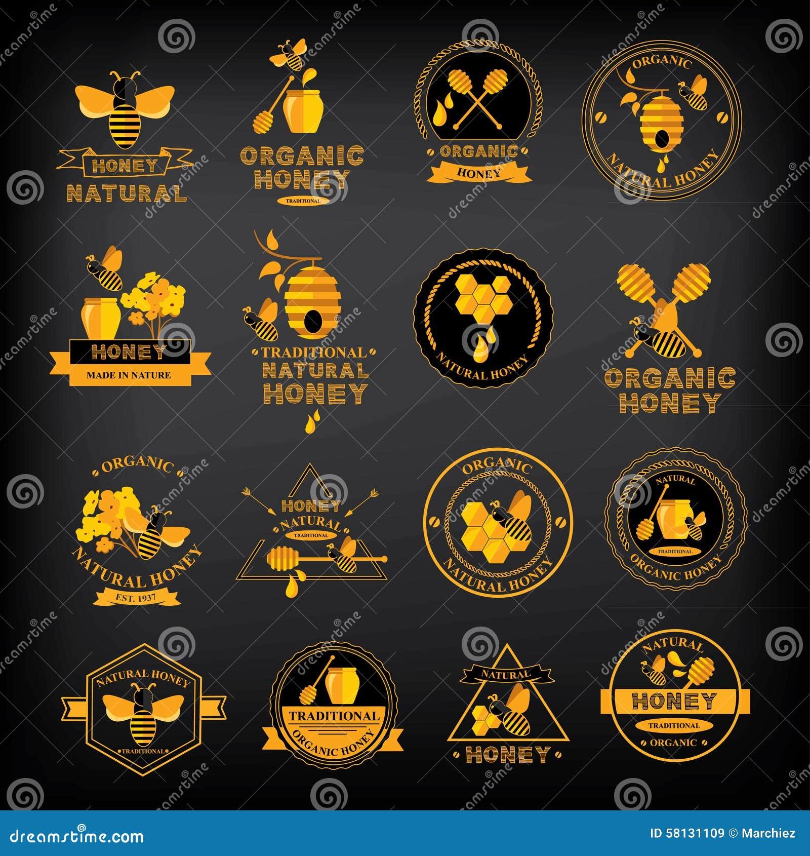 Ustawia Miodowe odznaki i etykietki Abstrakcjonistyczny pszczoła projekt
