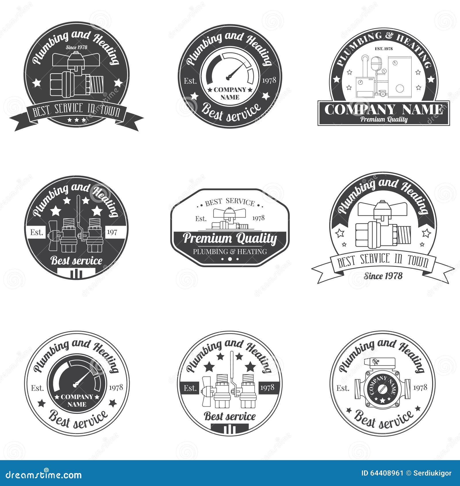 Ustawia rocznik instalację wodnokanalizacyjną, Ogrzewa usługa logo, etykietki i odznaki,