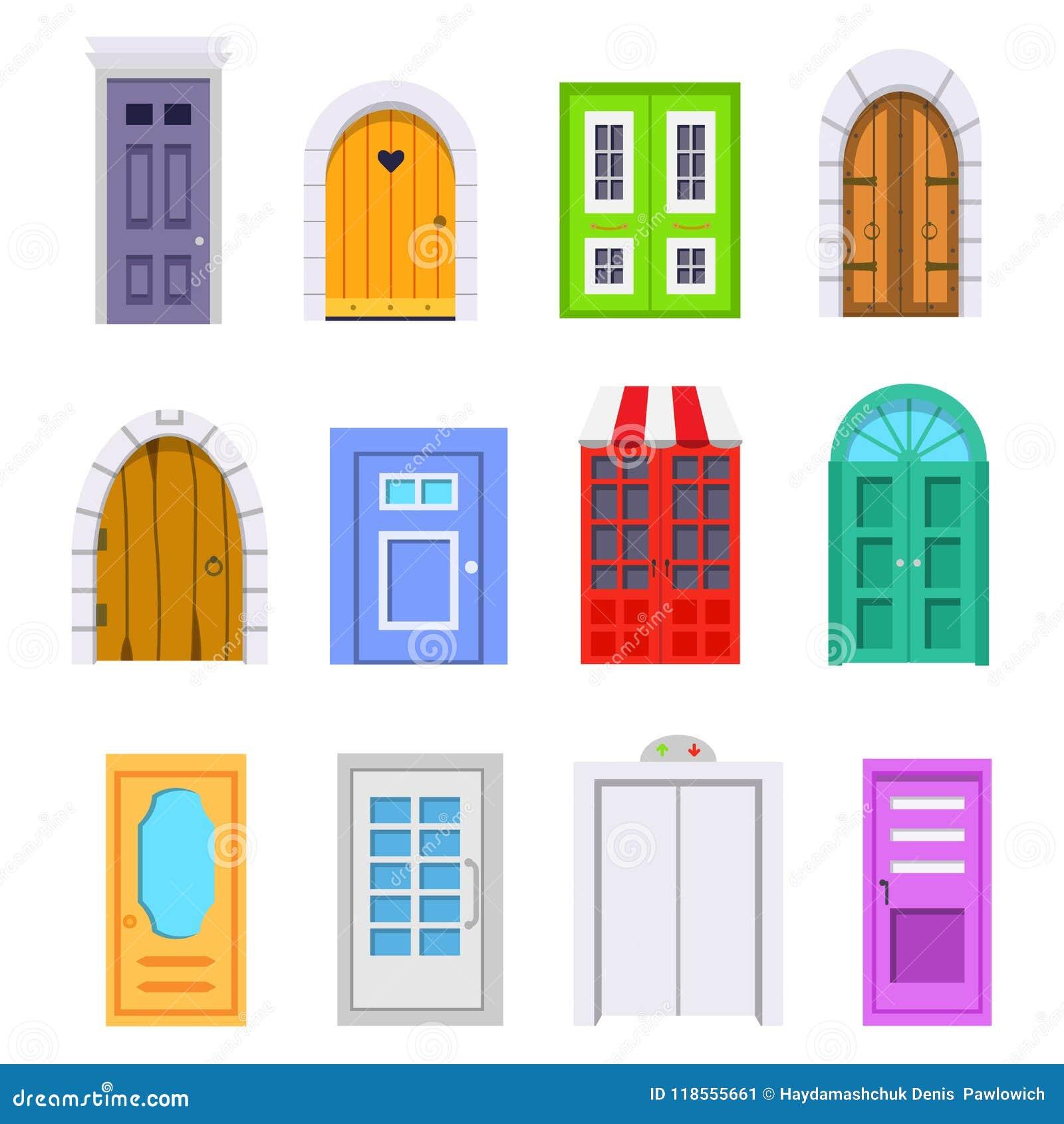Ustawia wejściowego drzwi frontowego widok stwarza ognisko domowe i budynku wektorowy element w kreskówka stylu