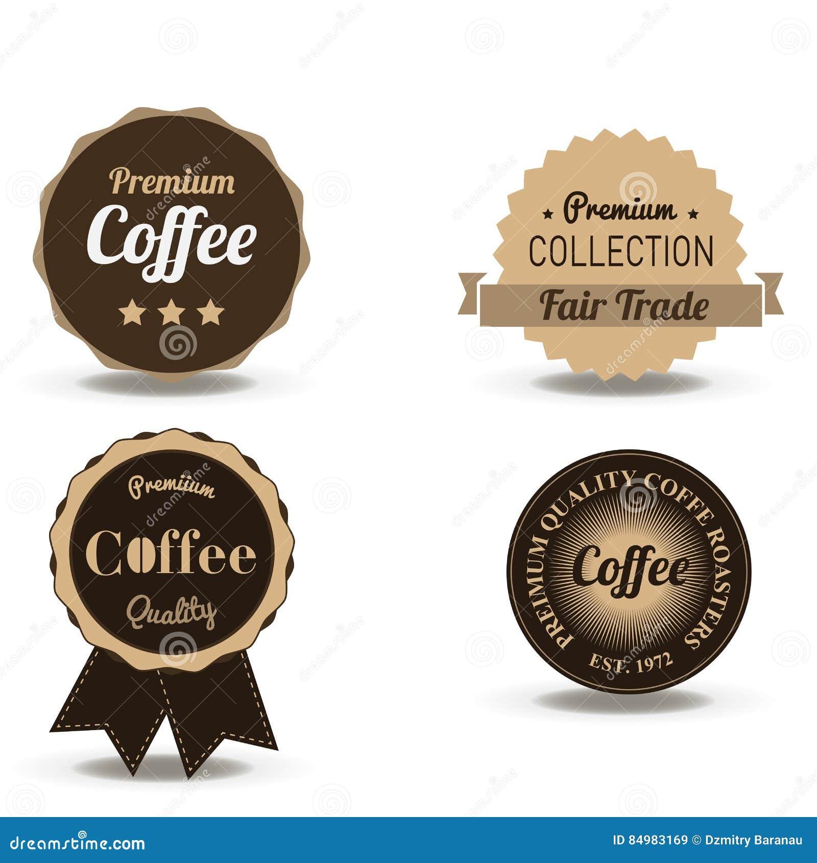 Ustawia wektor rocznika napoju retro kawowe odznaki i etykietki Sklepowi logowie projektują szablony odizolowywających na białym