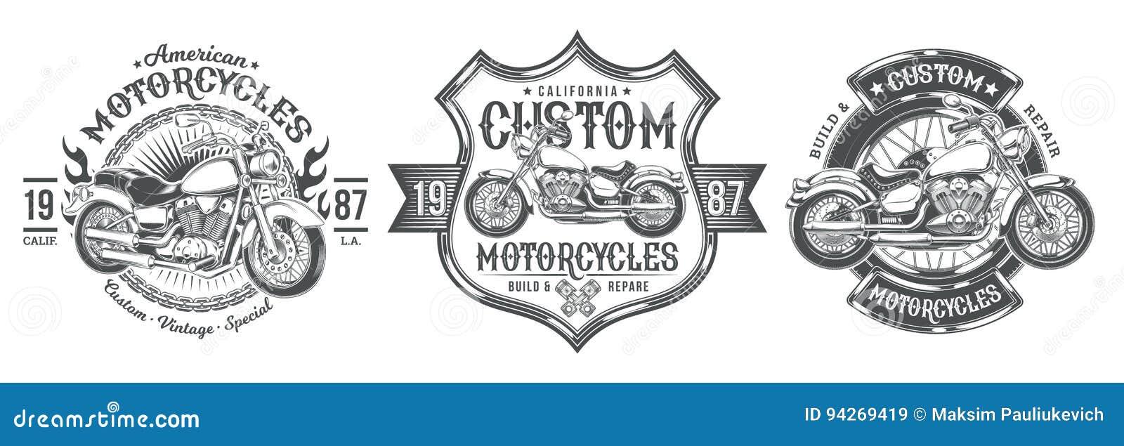 Ustawia wektorowe czarne rocznik odznaki, emblematy z obyczajowym motocyklem