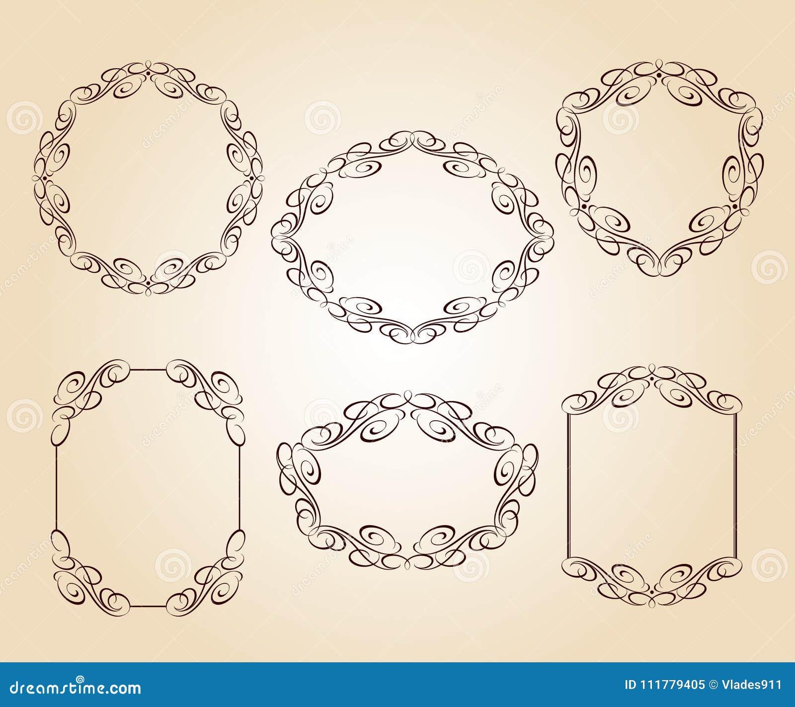 Ustawia wektorowe retro ramy również zwrócić corel ilustracji wektora brąz