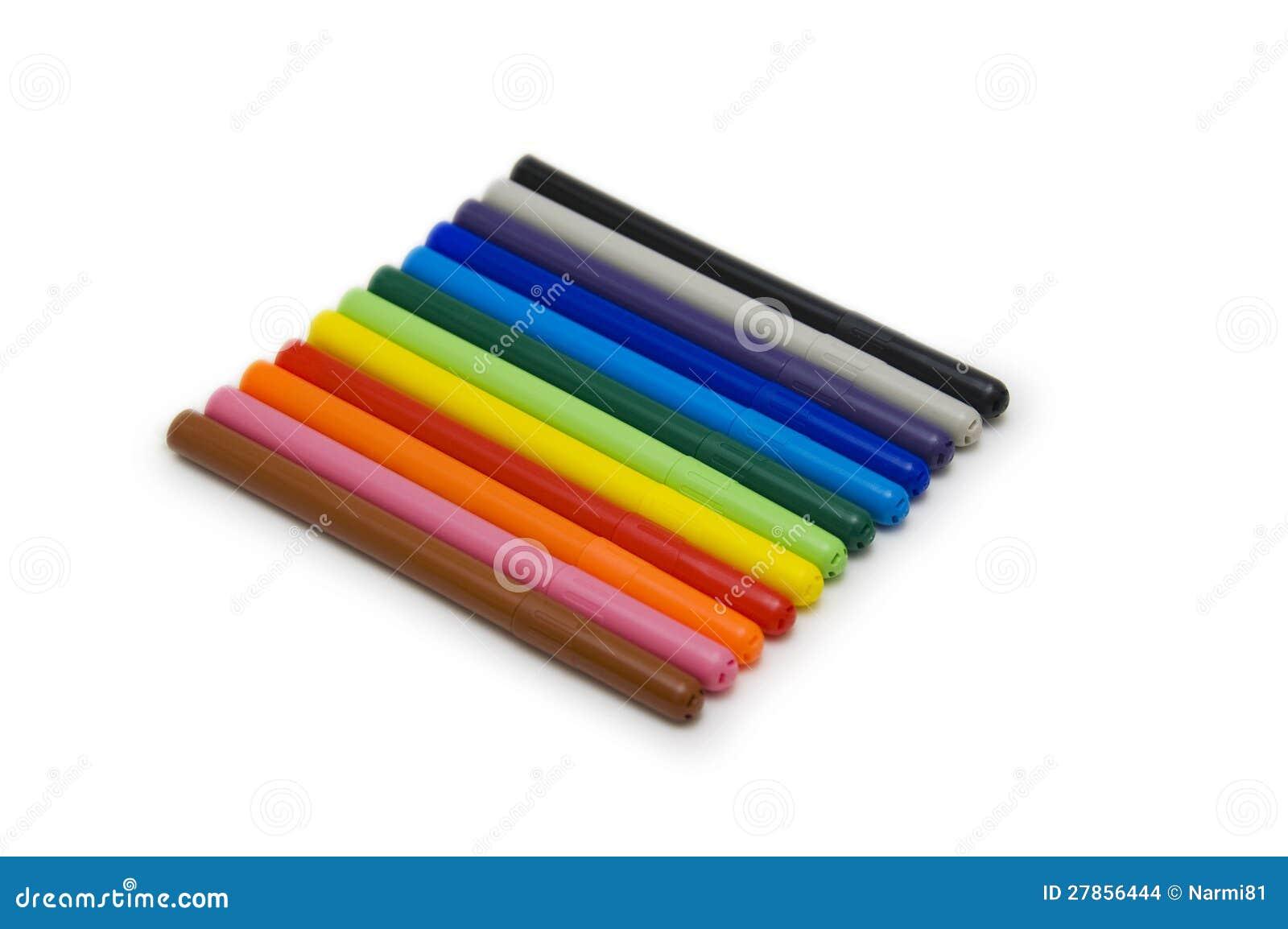 Ustawiający kolorowi markiery, odizolowywający na biel.