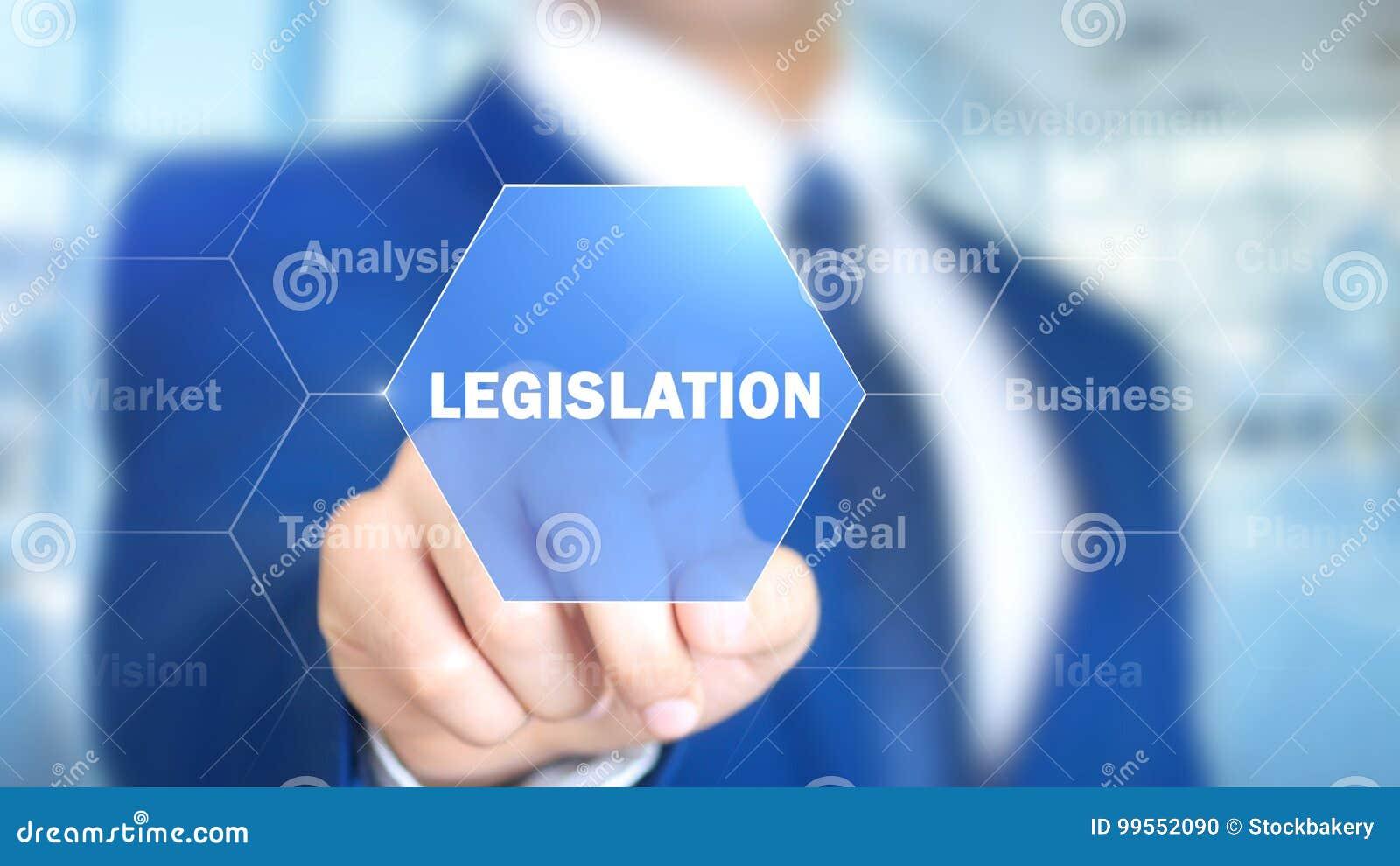 Ustawodawstwo, mężczyzna Pracuje na Holograficznym interfejsie, projekta ekran