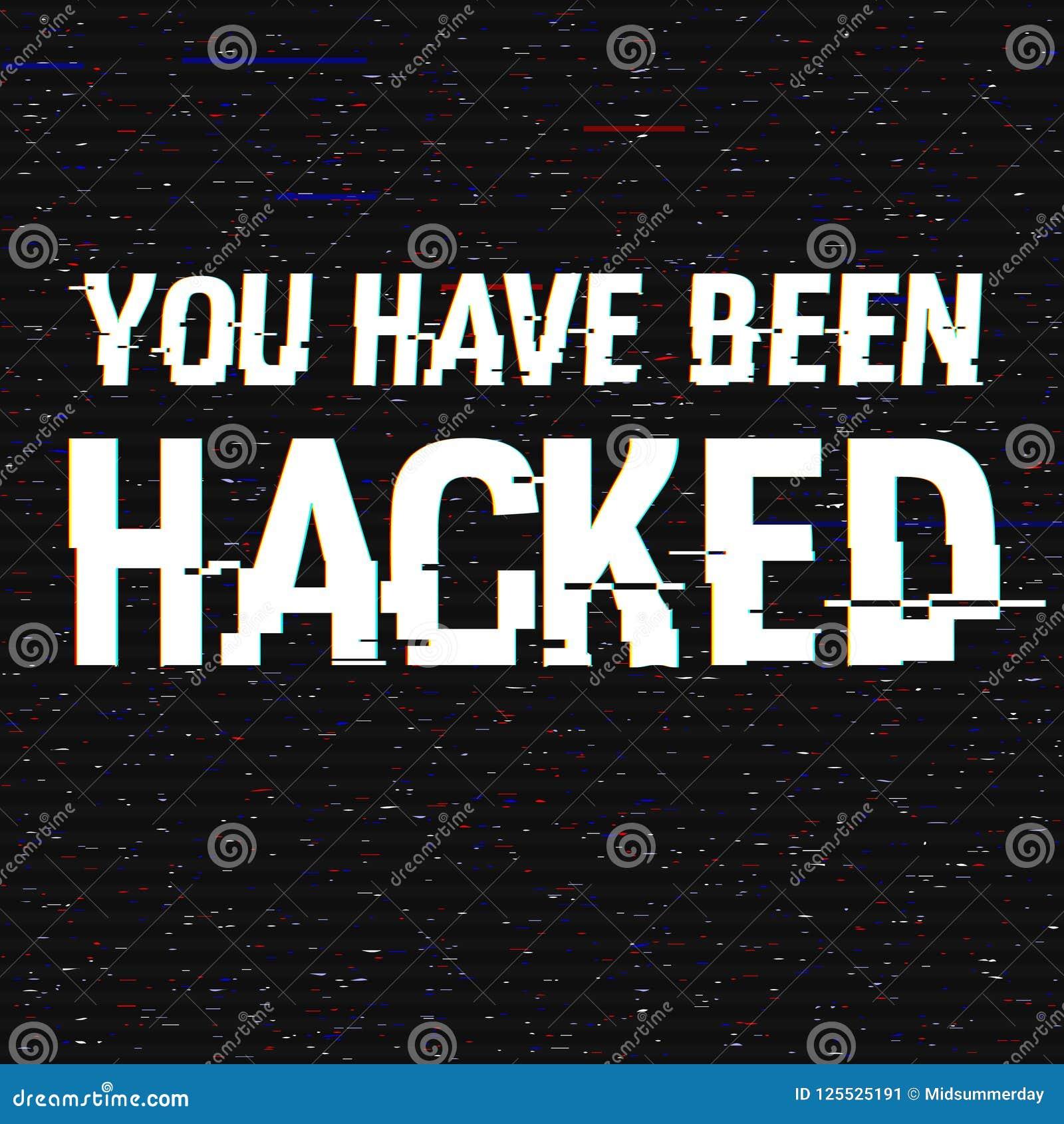 Usted ha sido texto cortado de la interferencia Efecto del anáglifo 3D Fondo retro tecnológico Ataque del pirata informático, mal