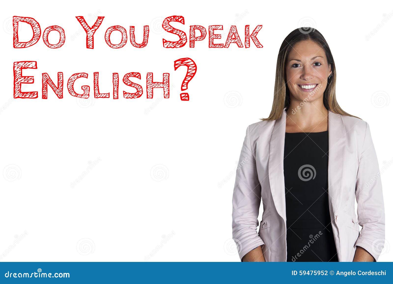 ¿Usted habla inglés? escuela de idiomas de palabras de la frase Mujer en el fondo blanco