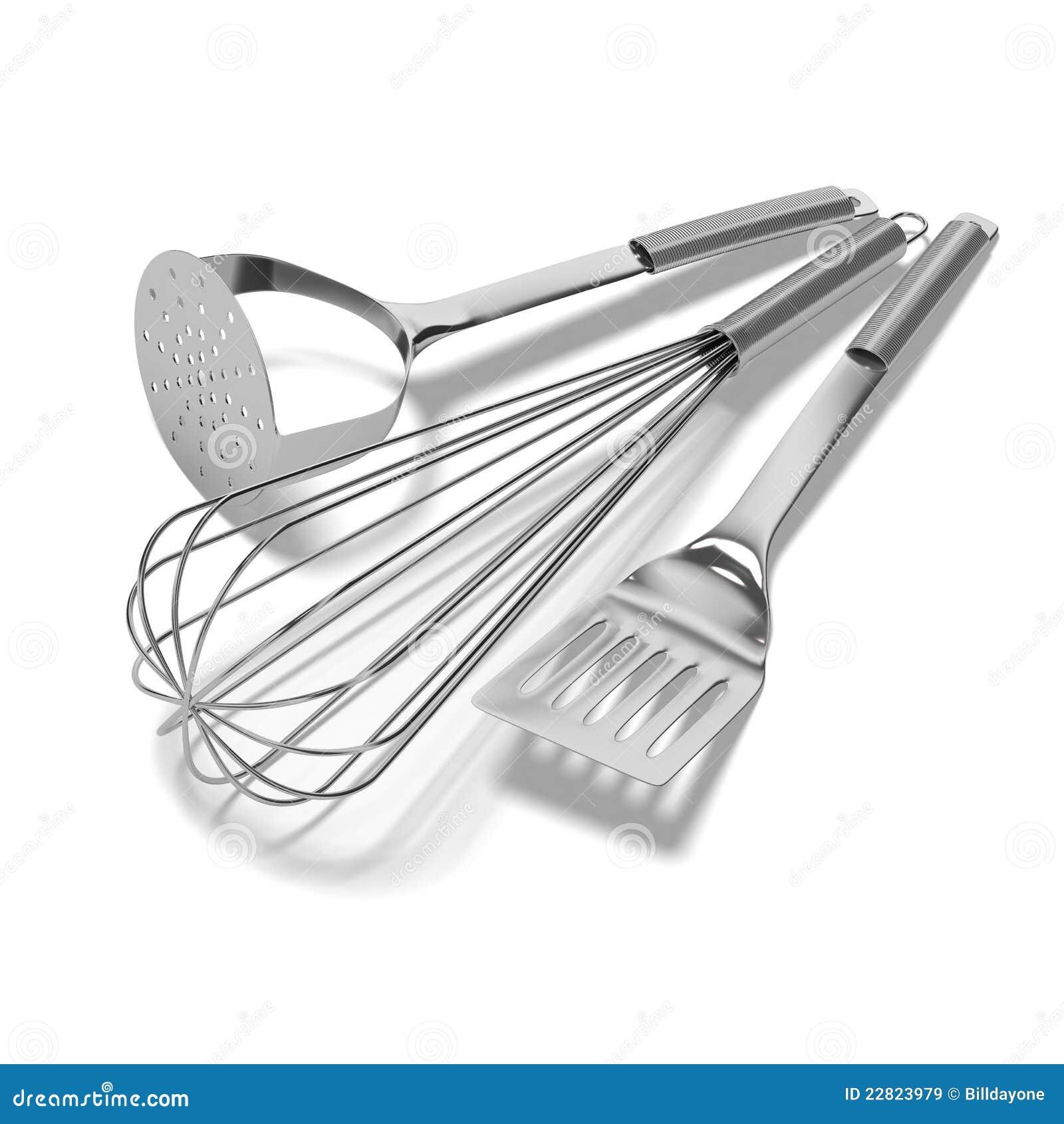 Ustensiles de cuisine de chrome sur le fond blanc images for Fond blanc cuisine