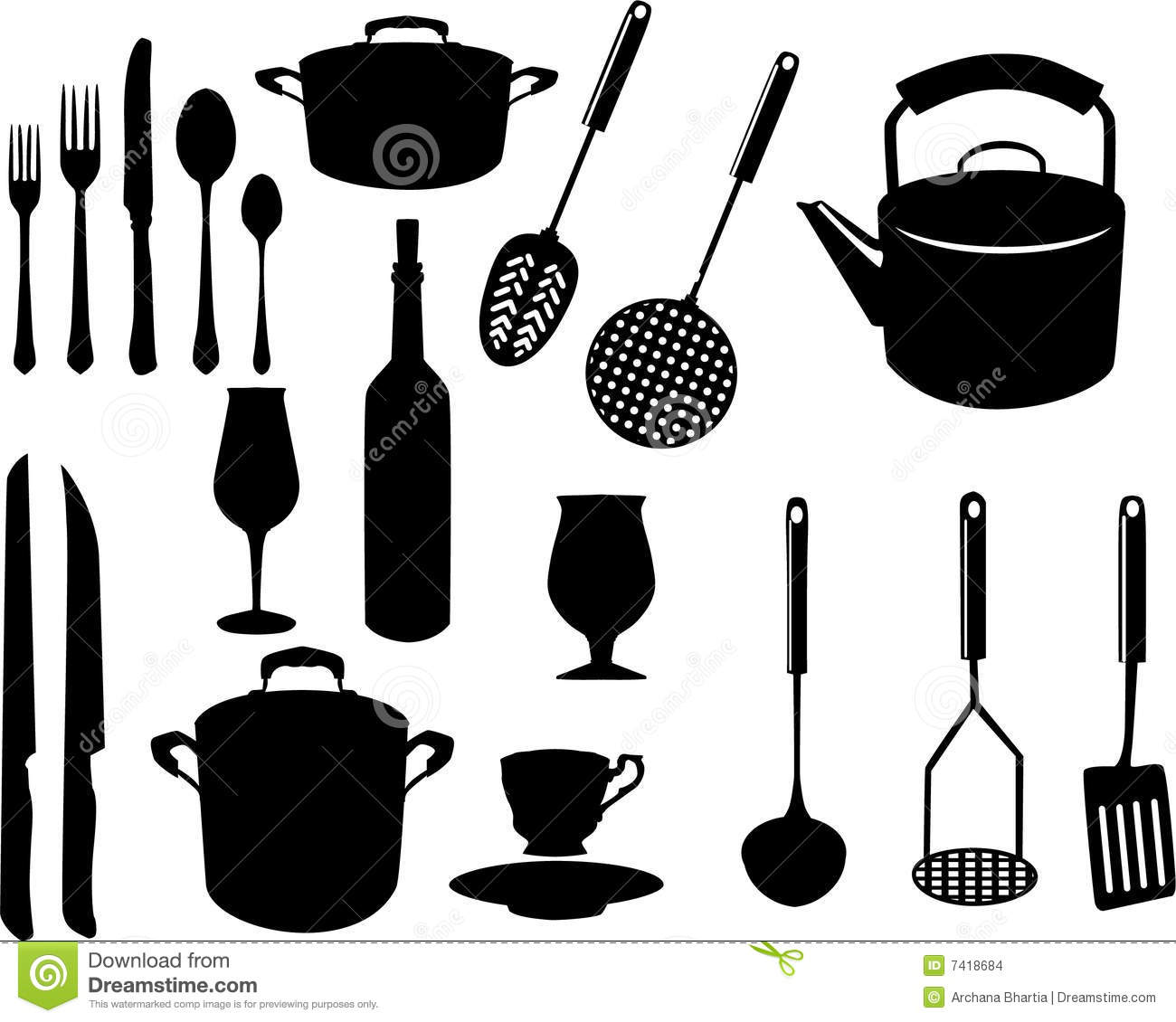 Ustensiles divers de cuisine illustration de vecteur for Ustensils cuisine