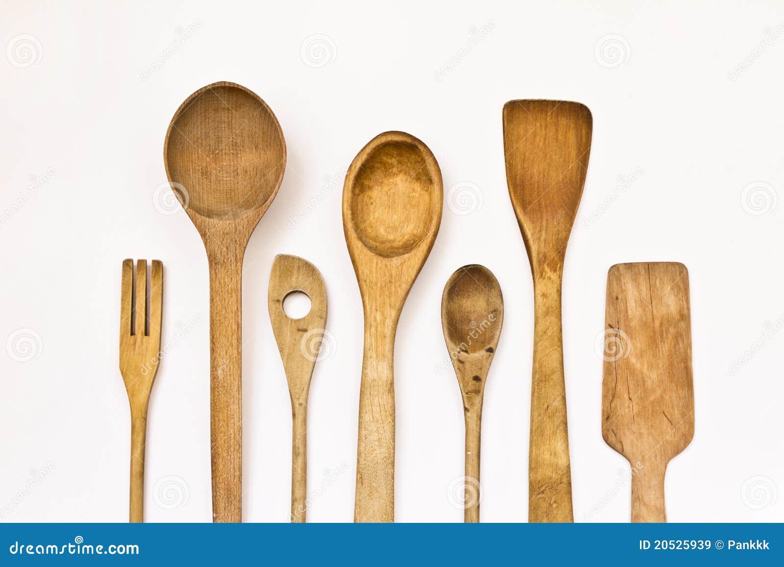 Ustensiles en bois de cuisine images libres de droits for Utensilios de cocina mexicana