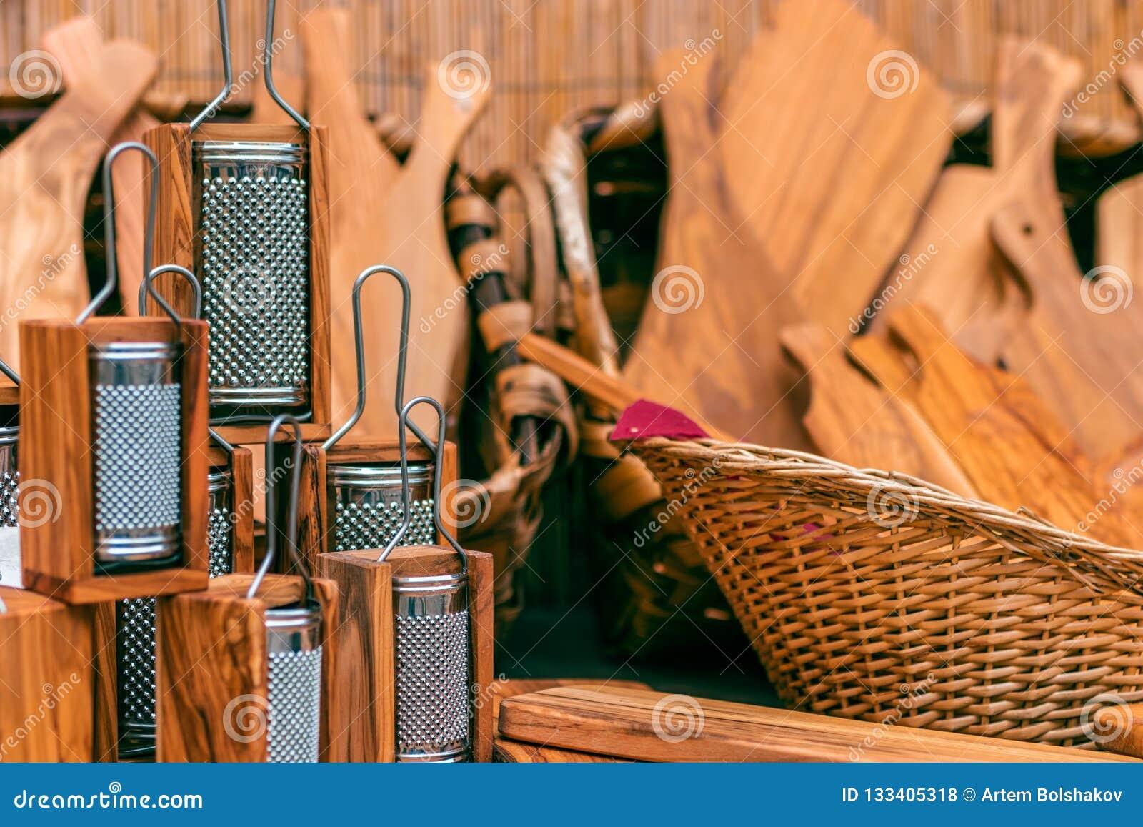 Ustensiles en bois de cuisine Râpe en bois et d autres outils en bois FO