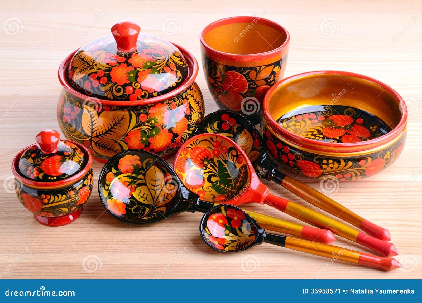 ustensiles russes de cuisine de khokhloma image stock image du nourriture groupe 36958571. Black Bedroom Furniture Sets. Home Design Ideas